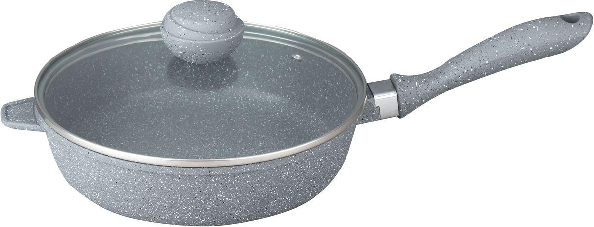 Сотейник Bekker Silver Marble с крышкой, с антипригарным покрытием. Диаметр 28 см. BK-7913BK-791328см/3,2л. Сотейник со стеклянной крышкой. Толщина стенки 2,0мм, дна 4,5мм, высота 7.5см. Внутри антипригарное серое мраморное покрытие, снаружи жаропрочное серое мраморное покрытие. Ручки с покрытием Soft touch. Подходит для индукционных плит и чистки в посудомоечной машине. Состав: литой алюминий.