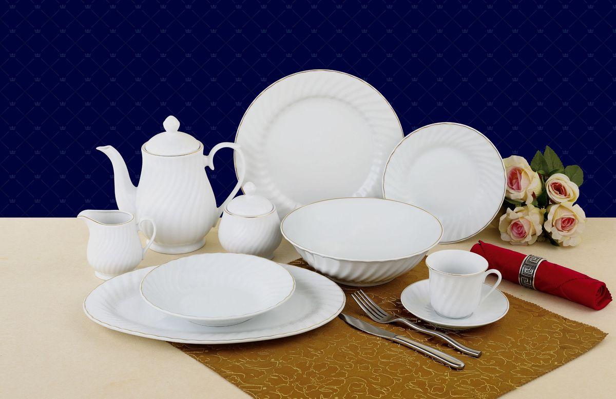 Набор столовой посуды Hoffburg Glamor, 47 предметов23389Набор столовой посуды Hoffburg Glamor из 47 предметов на 8 персон включает 8 чашек, 8 блюдец, 8 десертных тарелок, 8 суповых тарелок, 8 обеденных тарелок, 1 овальное блюдо, 1 салатник, 1 заварочный чайник с крышкой, 1 сахарницу с крышкой, 1 сливочник. Изделия выполнены из высококачественного фарфора белого цвета с золотой окантовкой.Изящный набор красиво оформит стол к обеду или праздничному ужину и подчеркнет ваш безупречный вкус. Объем чашки: 220 мл. Диаметр десертной тарелки: 19 см. Диаметр суповой тарелки: 20 см. Диаметр обеденной тарелки: 27 см. Диаметр салатника: 23 см. Диаметр блюда: 35 см. Объем заварочного чайника: 1,4 л.