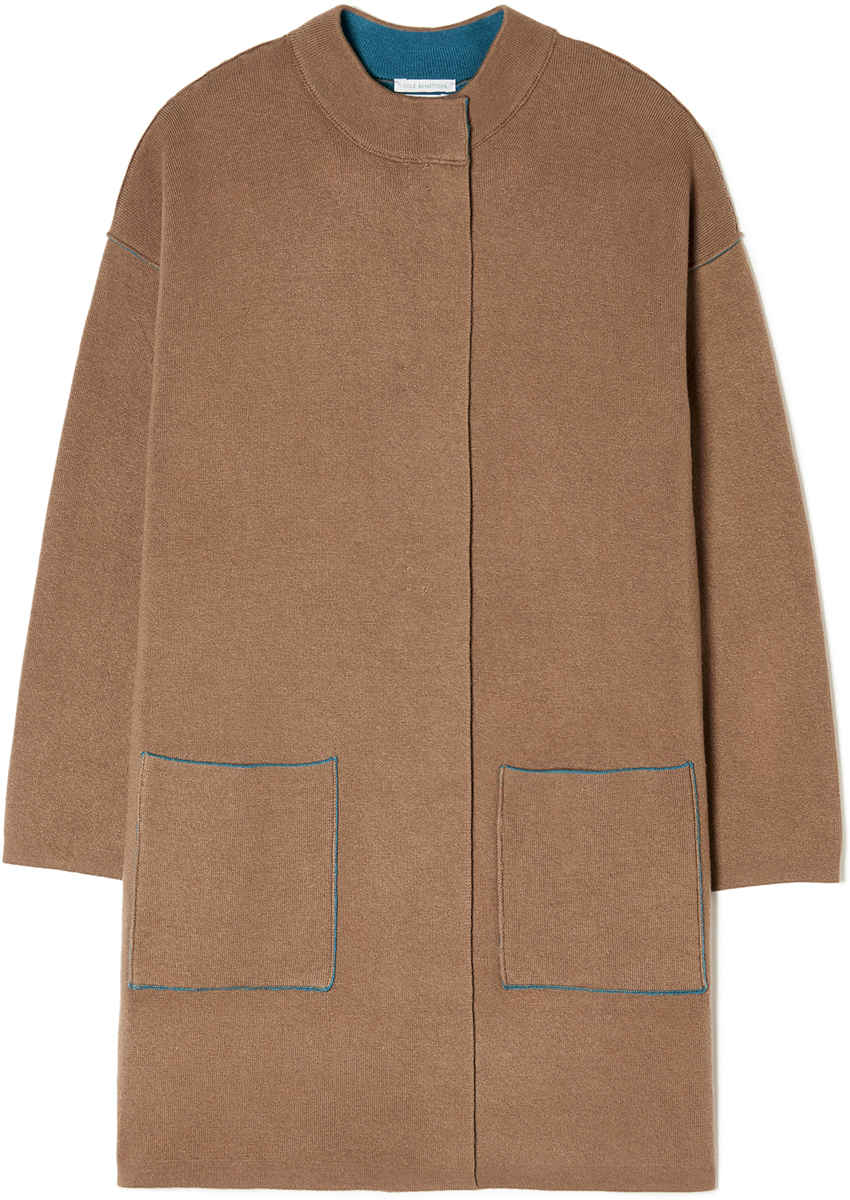 Пальто женское United Colors of Benetton, цвет: бежевый. 114CE9044_1B5. Размер S (42/44)114CE9044_1B5Пальто женское United Colors of Benetton выполнено из качественного материала. Модель с круглым вырезом горловины и длинными рукавами.