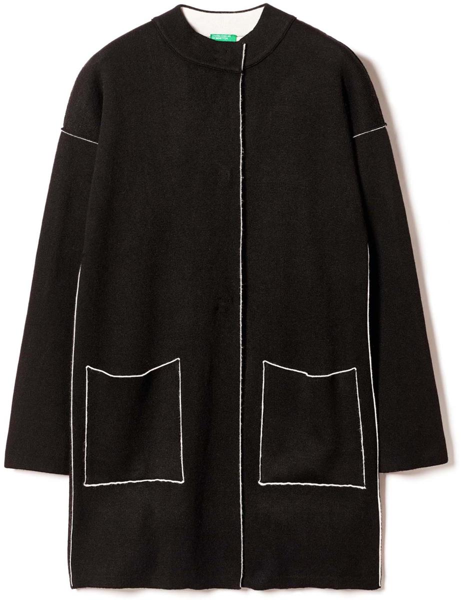 Пальто женское United Colors of Benetton, цвет: черный. 114CE9044_700. Размер XS (40/42)114CE9044_700Пальто женское United Colors of Benetton выполнено из качественного материала. Модель с круглым вырезом горловины и длинными рукавами.