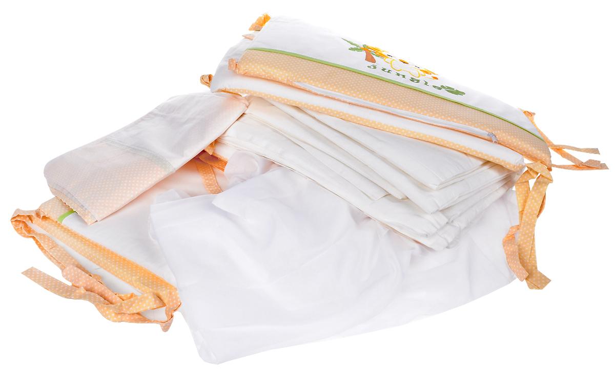Polini Комплект в кроватку Джунгли цвет белый бежевый 7 предметов1245Комплект в кроватку Polini Джунгли прекрасно подойдет для кроватки вашего малыша, добавит комнате уюта и согреет в прохладные дни. В качестве материала верха использован натуральный 100% хлопок. Мягкая ткань не раздражает чувствительную кожу ребенка и хорошо вентилируется. Уникальный комплект с оригинальной вышивкой создаст настоящий уют в детской кроватке. Изготовлен из мягких, натуральных тканей, не вызывающих аллергию.Комплект будет превосходно сочетаться с другими аксессуарами из коллекции Polini Джунгли.Очень важно, чтобы ваш малыш хорошо спал - это залог его здоровья, а значит вашего спокойствия. Комплект Polini Джунгли идеально подойдет для кроватки вашего малыша. На нем ваш кроха будет спать здоровым и крепким сном.Комплектация:- штора балдахина (400 см),- борт со съемными чехлами (37х180 см), - подушка (40х60 см),- наволочка (40х60 см),- простыня на резинке на матрац (120х60 см),- пододеяльник (110х140 см),- одеяло в комплекте (110х140 см).