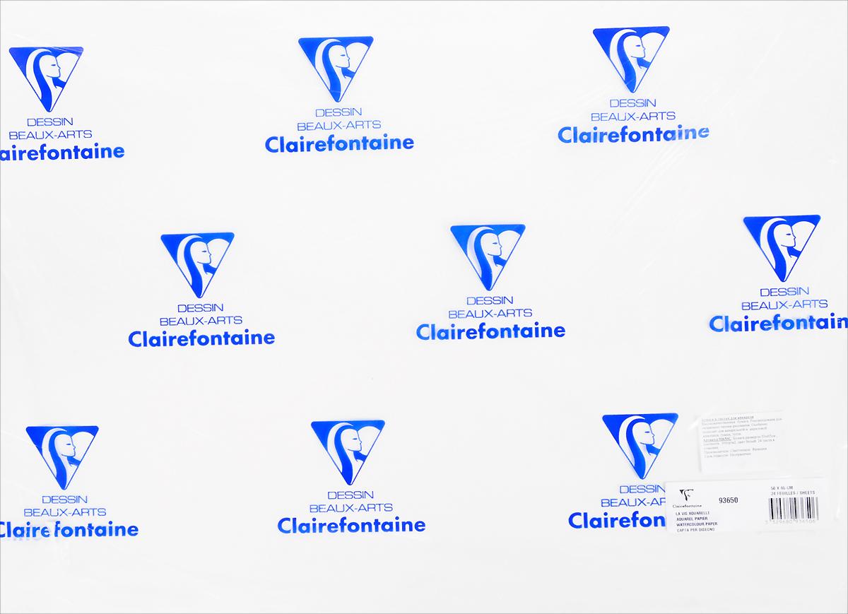 Бумага Clairefontaine Pochette, для акварели, чернил, гуаши и акрила, 50 х 65 см, 24 листа93650CБумага POCHETTE Для акварели, чернил, гуаши и акрила (50х65, 300г, 24л) 93650С