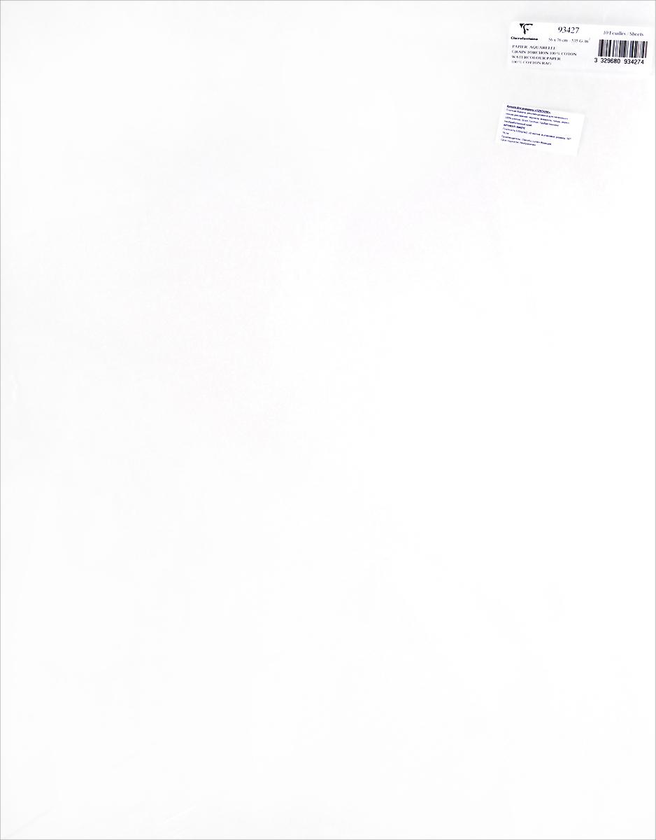 Бумага для акварели Clairefontaine Fontaine, грубая техника, 56 х 76 см, 10 листов93427CБумага FONTAINE (Торшон) Не обработанный край, Грубая техника (56х76, 535г, 10л) 93427C