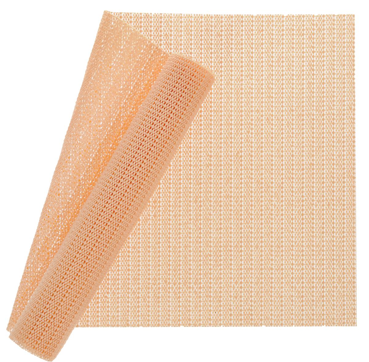 Коврик в холодильник Мультидом, цвет: оранжевый, 30 x 120 смFJ87-85Коврик в холодильник Мультидом в рулоне изготовлен из вспененного поливинилхлорида (ПВХ)пористой структуры, обладающий противоскользящими, абсорбирующими влагу иантиклеющимися к любым поверхностям свойствами. Из ПВХ коврика в рулоне можно вырезать салфетку необходимого вам размера дляиспользования на полках, выдвижных ящиках, столешницах кухонной мебели и в местах сушкипосуды. ПВХ салфетка защищает поверхность мебели от повреждений, загрязнений, а такжевпитывает воду. Возможно применение салфеток ПВХ в ванных комнатах, прихожих, гостиных и спальнях. Такжесалфетки ПВХ удобны для использования в офисах и дома при работе с оргтехникой иканцелярскими принадлежностями.Размер: 30 х 120 см. ПЕРДУПРЕЖДЕНИЕ! Нельзя ставить на салфетку горячие предметы.