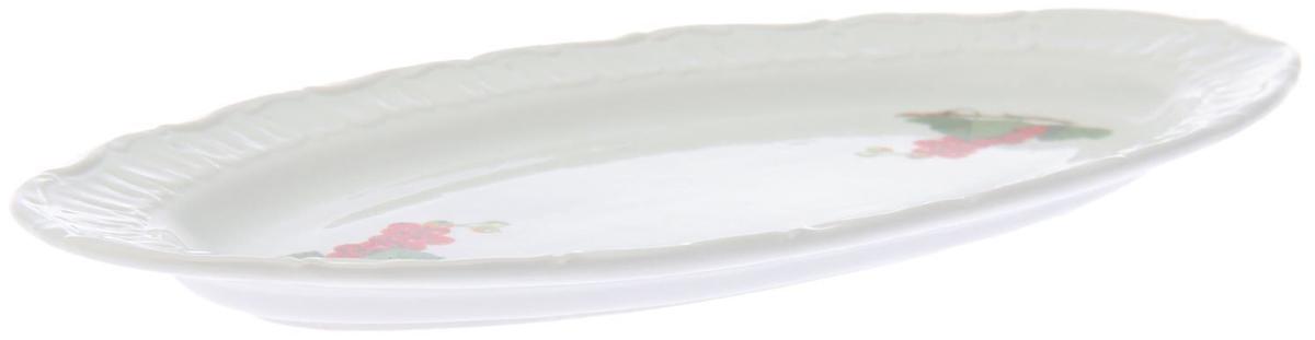 Селедочница Фарфор Вербилок Смородина, длина 30 см. 18177091817709Мануфактуры Гарднеръ в Вербилках - это более 250 лет производства эталонной посуды. Изделия из тонкого элегантного фарфора прекрасно подходят для торжеств самого высокого уровня. С 2007 года фабрика является Почетным членом Гильдии поставщиков Кремля. Селедочница 30 см Смородина - выбор тех, кто воспринимает гостеприимство как искусство. Достоинства предмета: - нежный белый цвет, присущий только высококачественному фарфору; - тщательно проработанный рисунок в классическом стиле; - долговечность и возможность ежедневного использования.