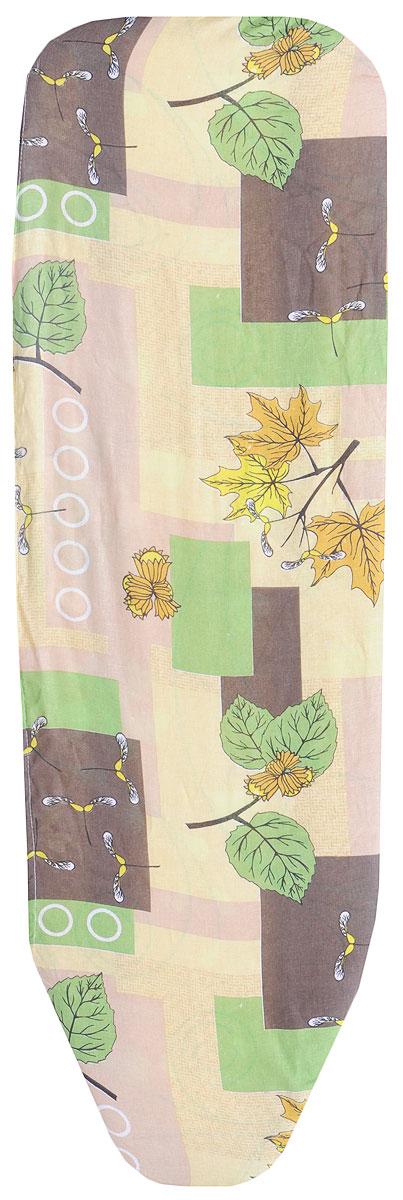 Чехол для гладильной доски Eva, цвет: коричневый, зеленый, желтый, 119 х 37 см чехол для головных уборов eva цвет коричневый 33 х 33 х 20 см