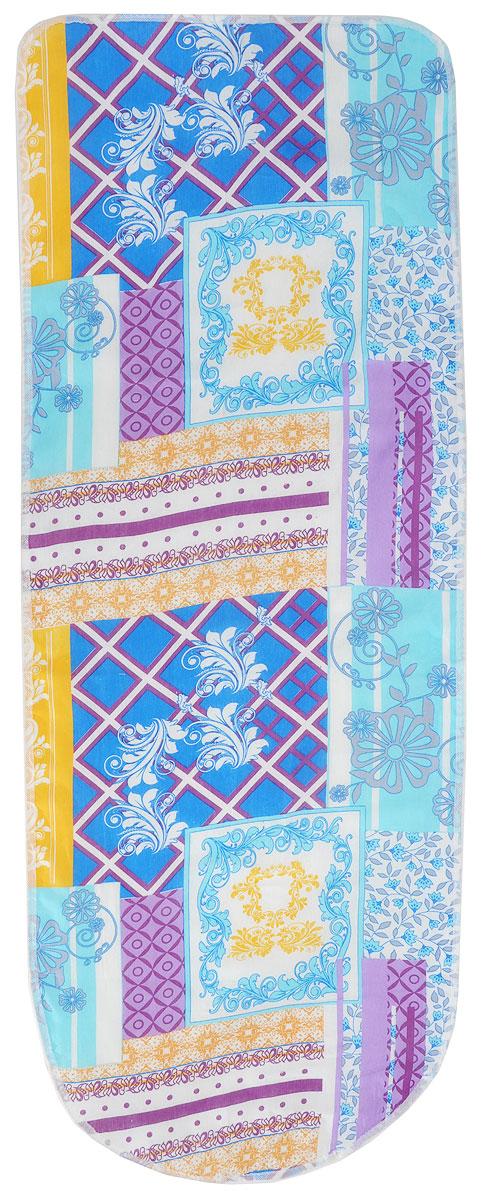 Чехол для гладильной доски Eva Узор, с поролоном, цвет: голубой, сиреневый, белый, 125 х 47 см