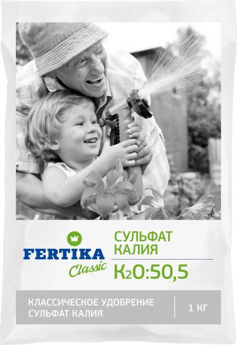 Удобрение Фертика Сульфат калия, 1 кгBi-fertika0059СУЛЬФАТ КАЛИЯ (К2О–50,5%). Сульфат калия пригоден для всех способов внесения: основного (при перекапывании почвы весной или осенью), предпосевного (в рядки, борозды или лунки), а также для подкормки в течение вегетационного периода. Высокоэффективное бесхлорное калийное удобрение. Используется на различных типах почв (в том числе. в условиях защищенного грунта), а также для комнатного и балконного цветоводства.