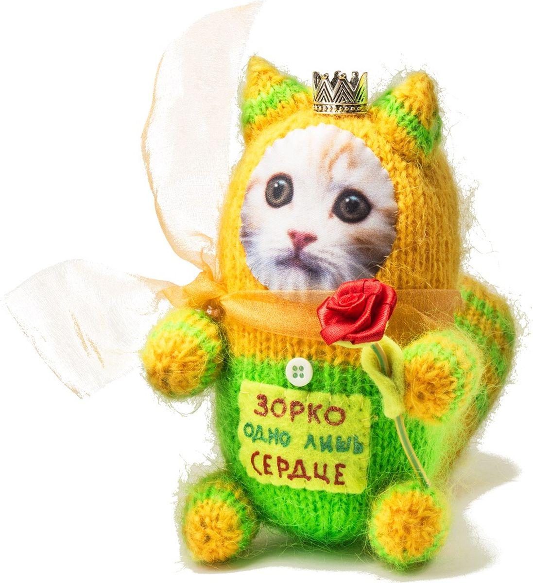 Мягкая игрушка Бюро находок  Котик. Зоркое сердце , цвет: зеленый, желтый - Мягкие игрушки