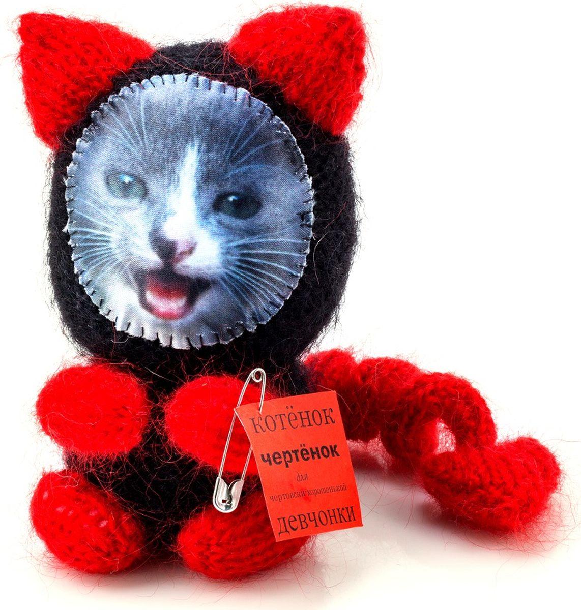 Мягкая игрушка Бюро находок  Котенок. Чертенок , цвет: черный, красный - Мягкие игрушки
