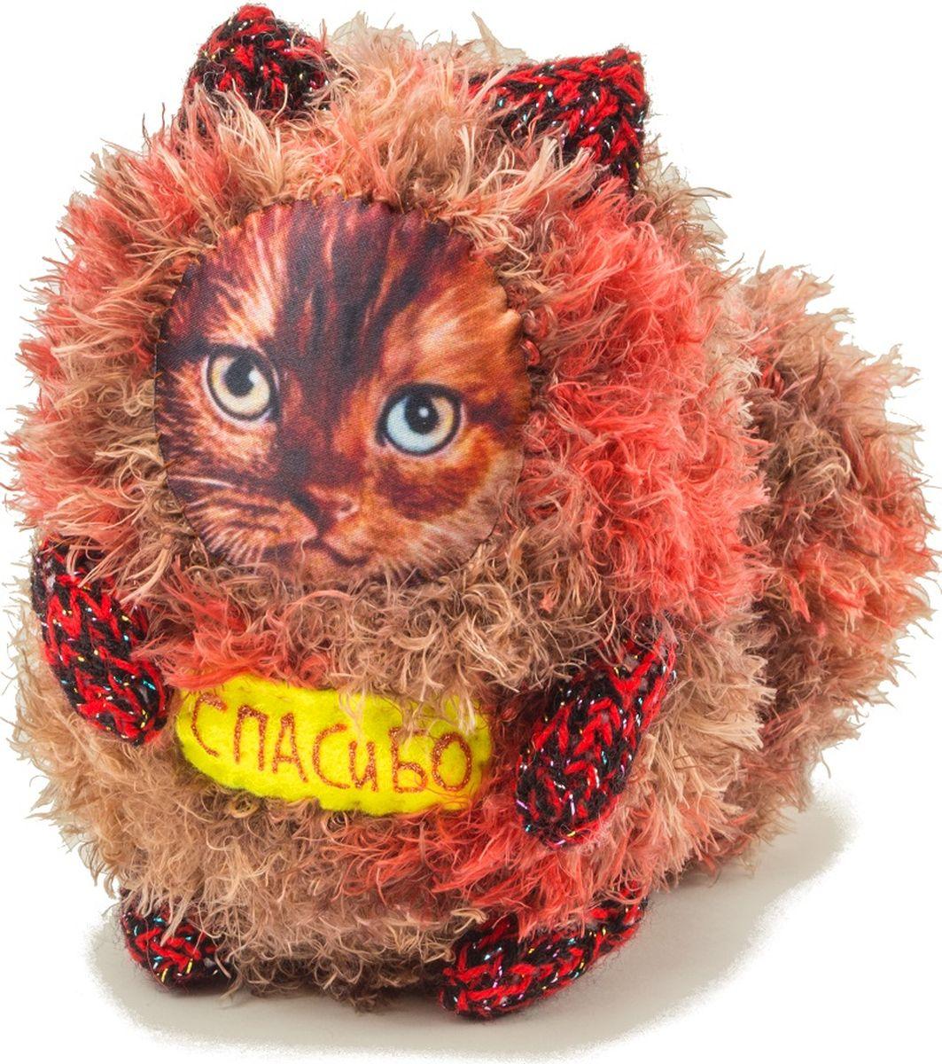 Мягкая игрушка Бюро находок Котик. Спасибо, цвет: коричнево-красный мягкая игрушка бюро находок котик с деньгами ж цвет темно красный