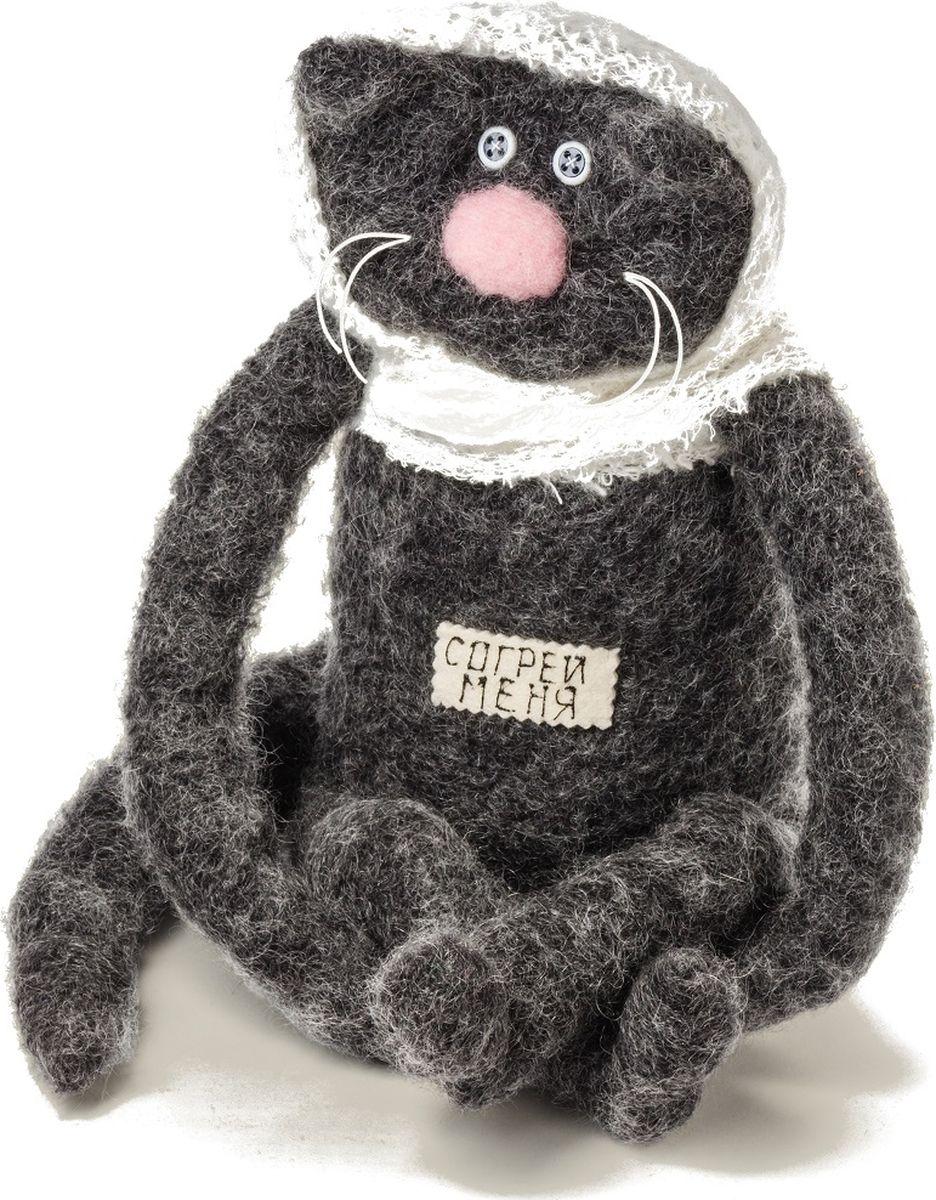 Мягкая игрушка Бюро находок Кот. Согрей меня, цвет: темно-серый мягкая игрушка бюро находок кот согрей меня цвет черный