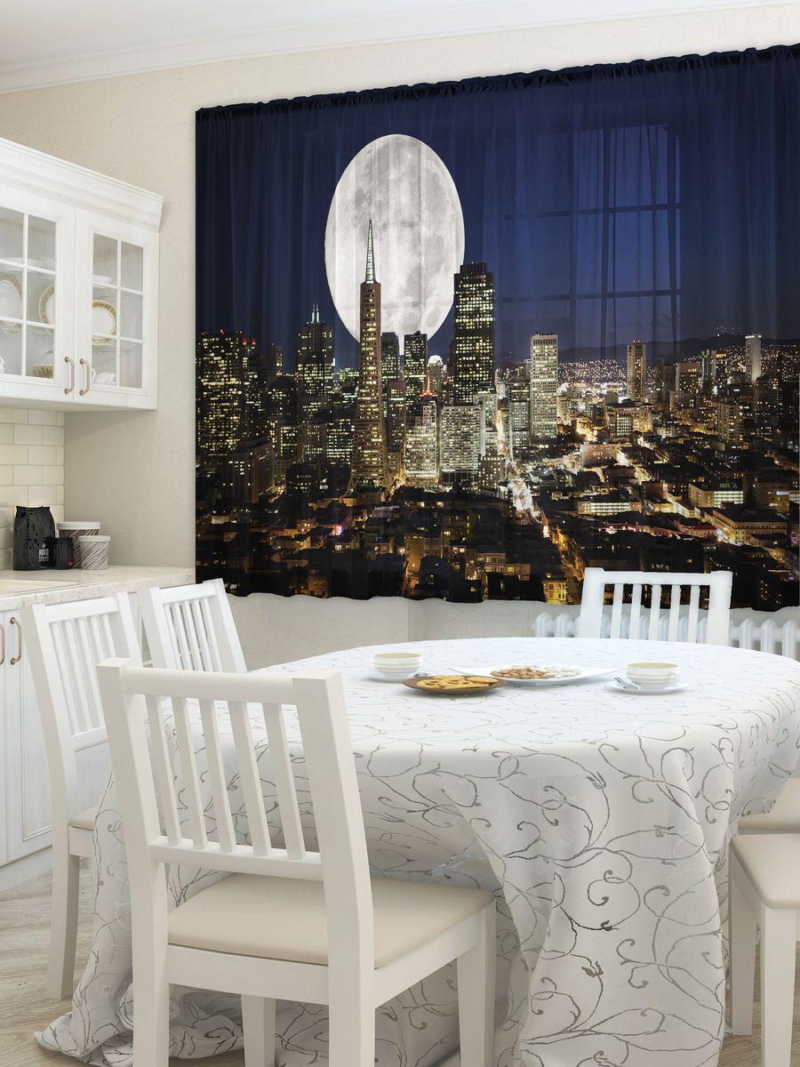 Комплект фототюлей для кухни Zlata Korunka Лунный свет, на ленте, высота 160 см. 21471