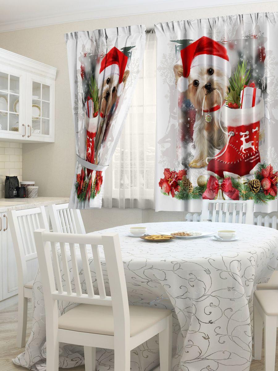 """Комплект штор для кухни """"Zlata Korunka"""", выполненный из полиэстера,  великолепно украсит любое окно. Комплект состоит из 2 штор.  Крупный рисунок и приятная цветовая гамма привлекут к себе  внимание и органично впишутся в интерьер помещения.  Этот комплект будет долгое время радовать вас и вашу семью!   Комплект крепится на карниз при помощи ленты, которая поможет красиво и  равномерно задрапировать верх."""