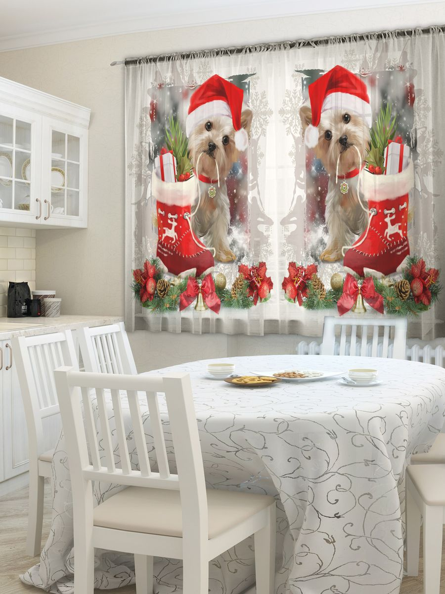 Комплект фототюлей для кухни Zlata Korunka Год собаки, на ленте, высота 160 см. 21478