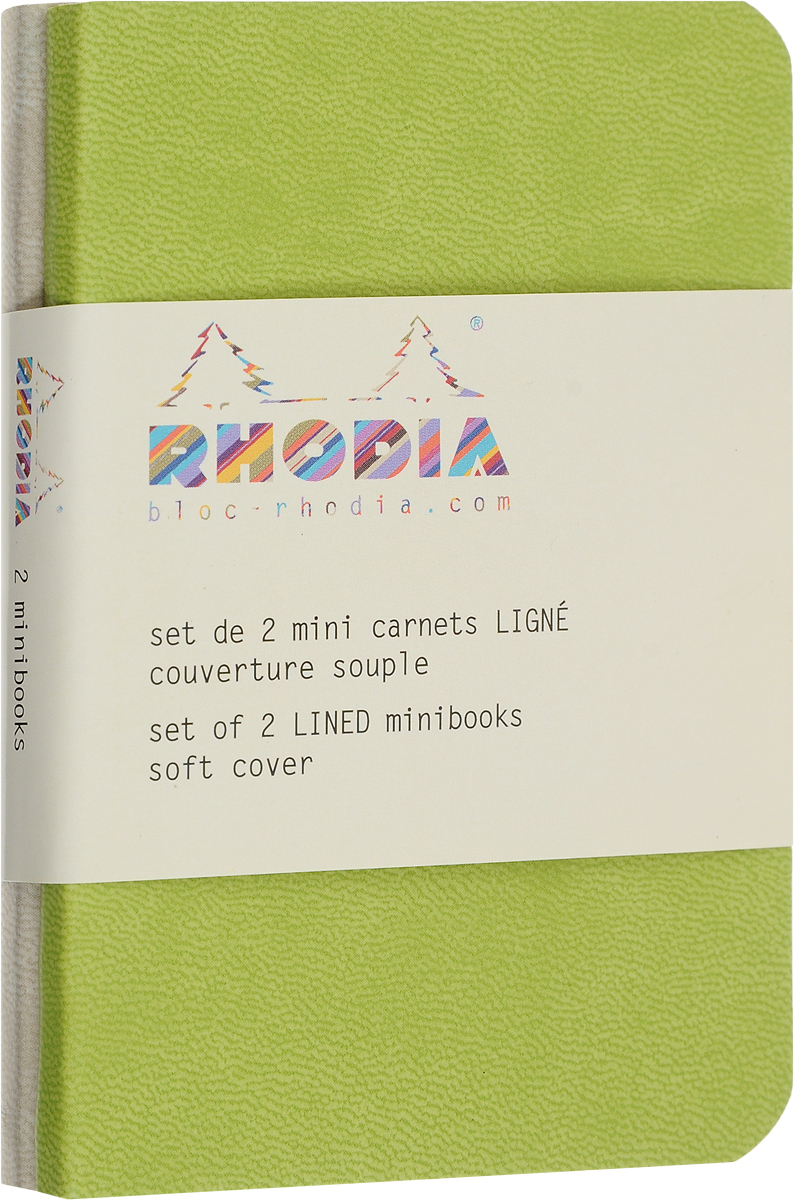 Rhodia Записная книжка 80 листов в линейку цвет бежевый зеленый 2 шт117205CБлокнот Rhodia выполнен в ярком малиновом цвете. Сверху у нее мягкая обложка из искусственной итальянской кожи, а внутри бумага цветаслоновой кости. Также у блокнота есть шелковая закладка. Он подойдет, как для рабочего процесса, так и для творческих идей.