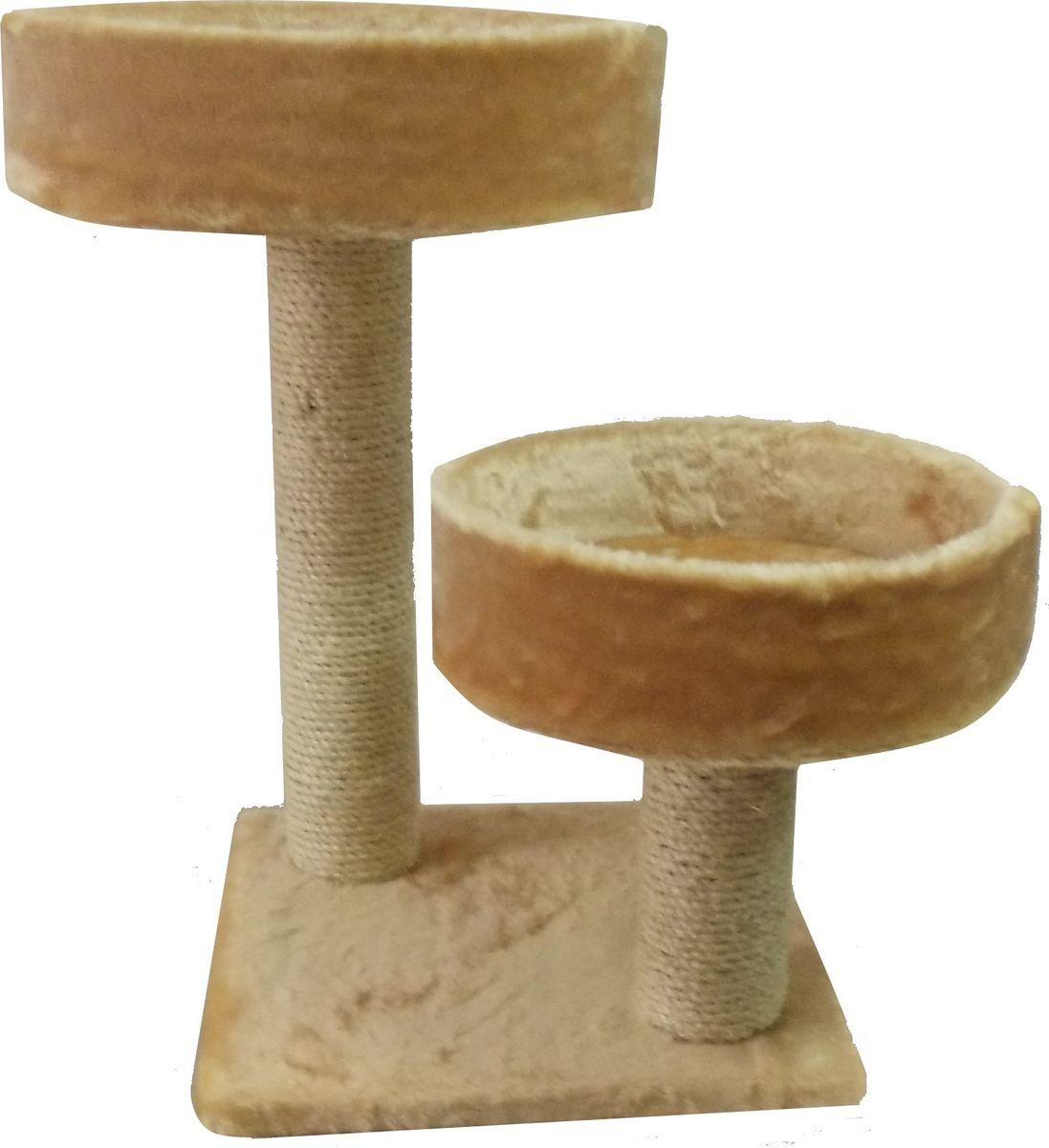 Когтеточка Пушок Двойная лапа, цвет: бежевый, 42 х 42 х 65 см лежанки для собак плетеные