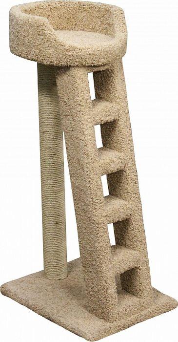 Когтеточка Пушок Лежанка с лестницей, цвет: бежевый, 60 х 45 х 115 см лежанка ferplast dandy c 45 софа 45 35 13 хлопок для кошек