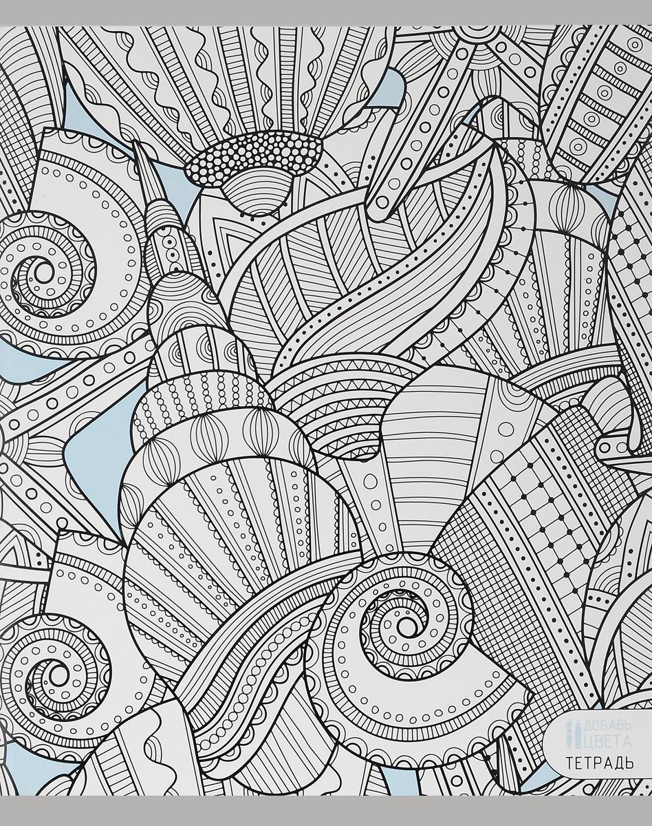 Канц-Эксмо Тетрадь Вдохновение 96 листов в клетку цвет белый голубойТ965556_белый, голубойТетрадь А5 96л., скрепка, клетка, обложка: мелованный картон, матовый ВД-лак, раскраска, бумага офсетная 60 г/м2. Вдохновение (орнаменты).