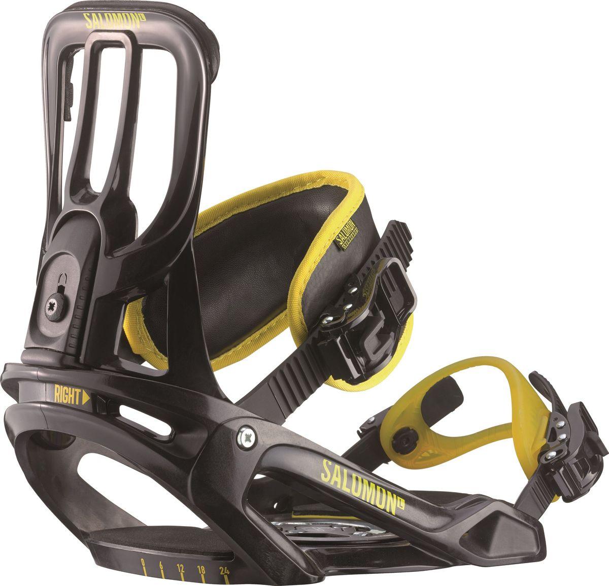 Крепление для сноуборда Salomon Unite, цвет: черный, желтый. Размер LL39837500Легкое, простое, крепкое, легко настраиваемое крепление Salomon Unite прекрасно подходит для освоения сноубордического катания новичками. Крепления оснащены диском, позволяющим быстро отрегулировать угол установки креплений, а также быструю установку/съем самих креплений.Как выбрать сноуборд. Статья OZON Гид