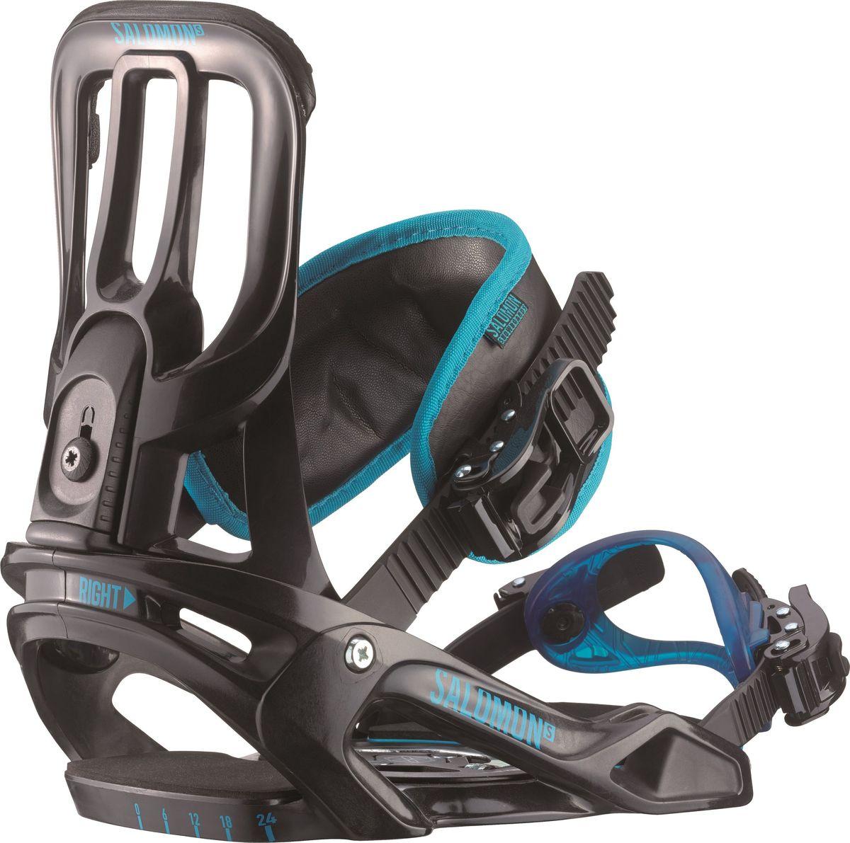 Крепление для сноуборда Salomon Unite, цвет: черный, голубой. Размер SL39943300Легкое, простое, крепкое, легко настраиваемое крепление Salomon Unite прекрасно подходит для освоения сноубордического катания новичками. Крепления оснащены диском, позволяющим быстро отрегулировать угол установки креплений, а также быструю установку/съем самих креплений.