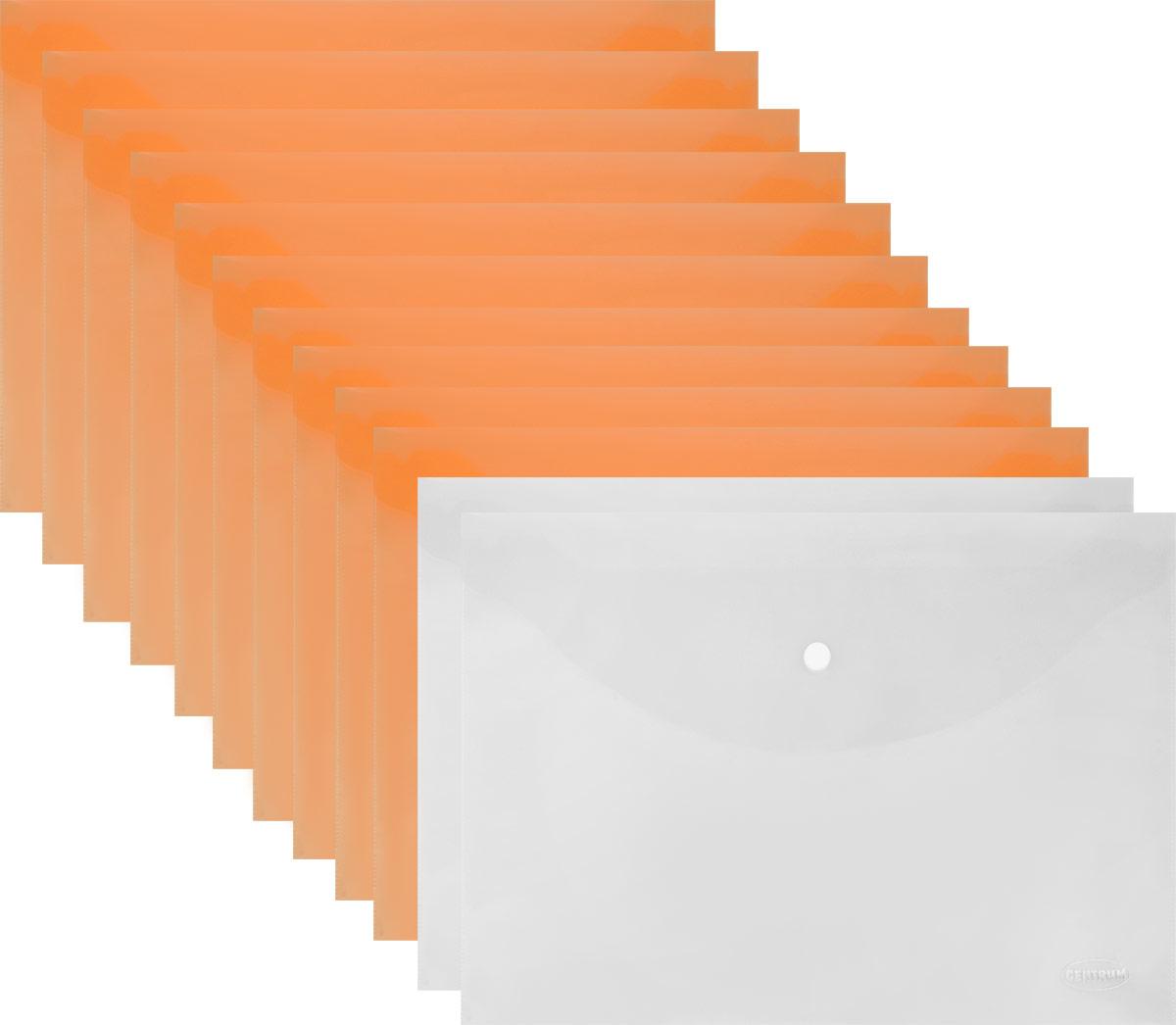 Папка-конверт на кнопке Centrum формат А4 цвет оранжевый 12 шт -  Папки