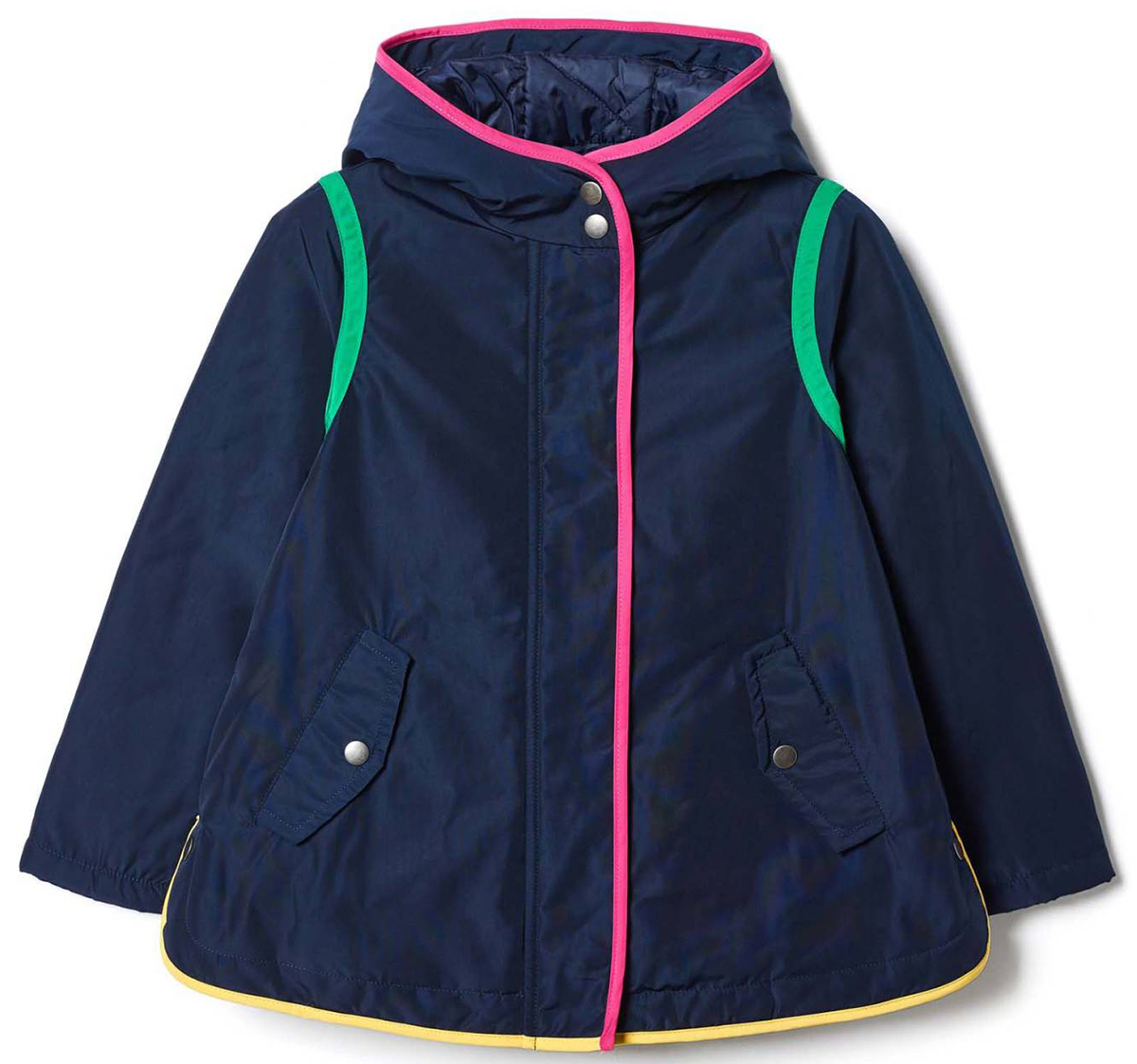Куртка для девочки United Colors of Benetton, цвет: синий. 2DZS53A00_13C. Размер 1002DZS53A00_13CКуртка для девочки United Colors of Benetton выполнена из полиэстера. Модель с капюшоном и длинными рукавами застегивается на комбинированную застежку.