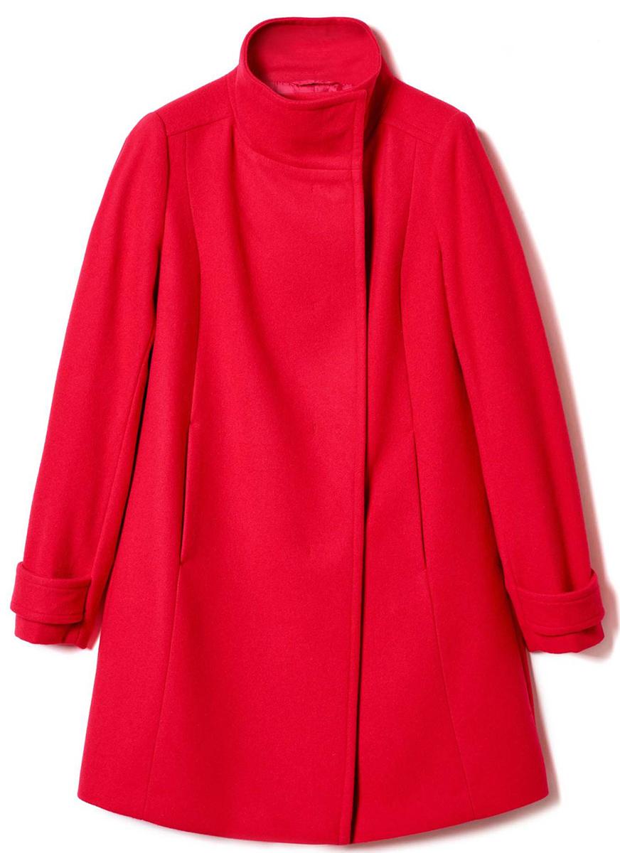 Пальто женское United Colors of Benetton, цвет: красный. 2ED95K1N4_3A8. Размер 38 (40)2ED95K1N4_3A8Стильное женское пальто выполнено из качественного материала. Модель с воротником стойкой и длинными рукавами.