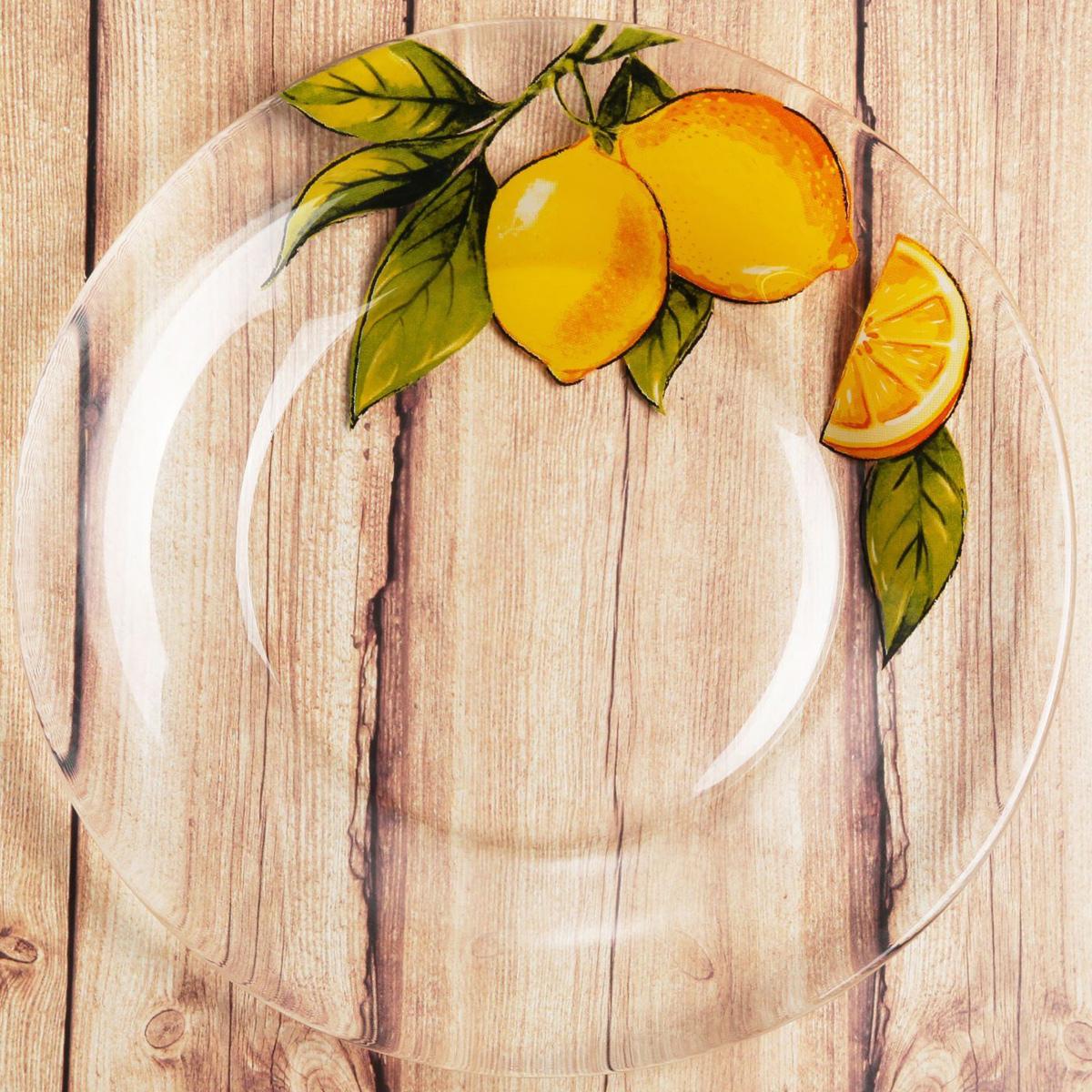 Тарелка Sima-land Лимоны, диаметр 20 см2196441Красивая тарелка с рисунком дополнит праздничный стол, ведь прозрачное стекло выглядит элегантно и стильно. Тарелку можно использовать в микроволновой печи и мыть в посудомоечной машине. При бережном обращении изделие будет радовать вас безукоризненным внешним видом долгие годы.