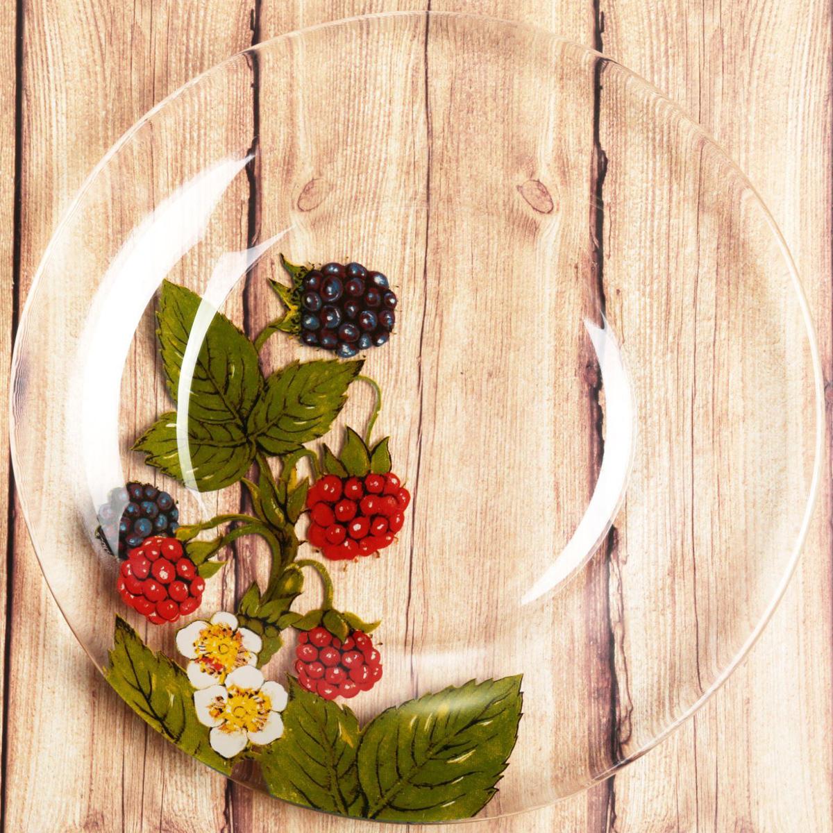 Тарелка Sima-land Малина , диаметр 20 см1661845Красивая тарелка с рисунком дополнит праздничный стол, ведь прозрачноестекло выглядит элегантно и стильно. Предмет можно использовать в микроволновой печи и посудомоечноймашине. При бережном обращении изделие будет радовать вас безукоризненнымвнешним видом долгие годы.