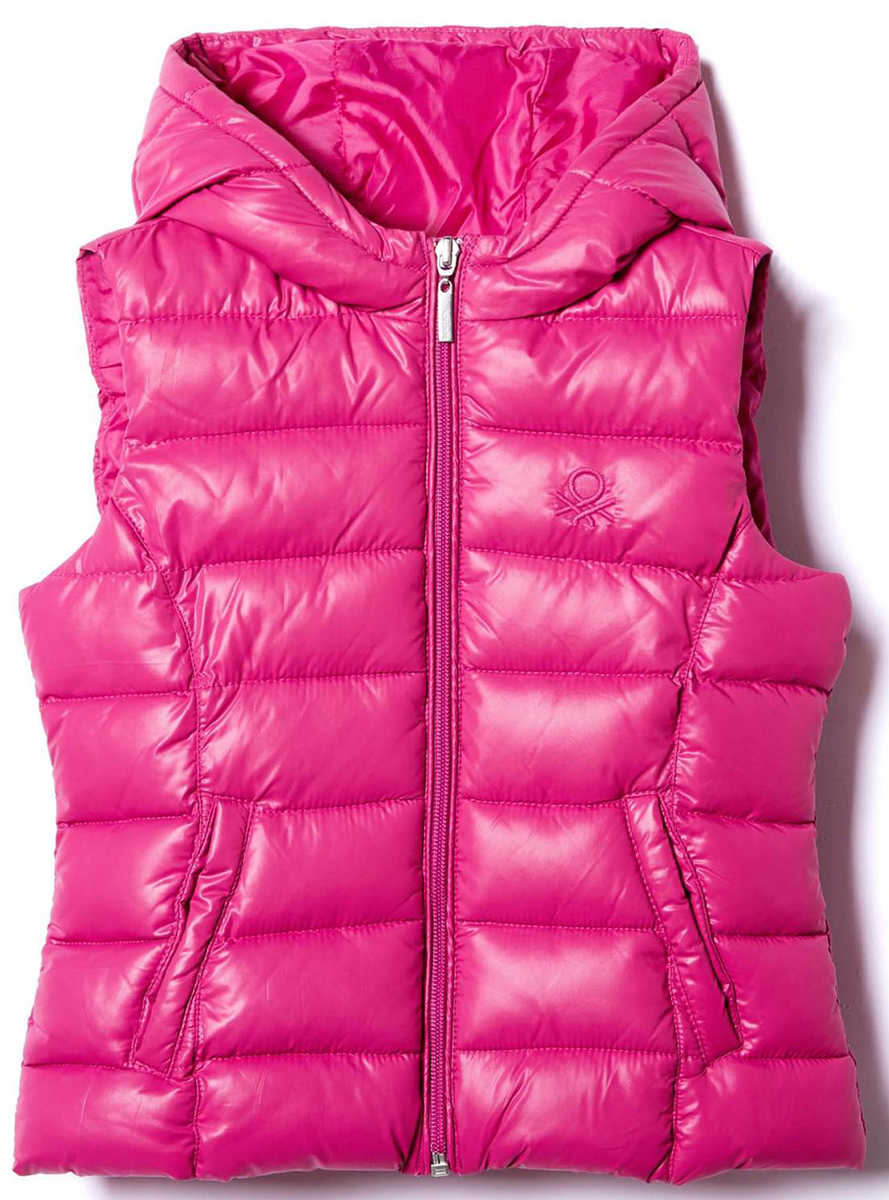 Жилет для девочек United Colors of Benetton, цвет: розовый. 2EO05G0U0_14Y. Размер 1602EO05G0U0_14Y