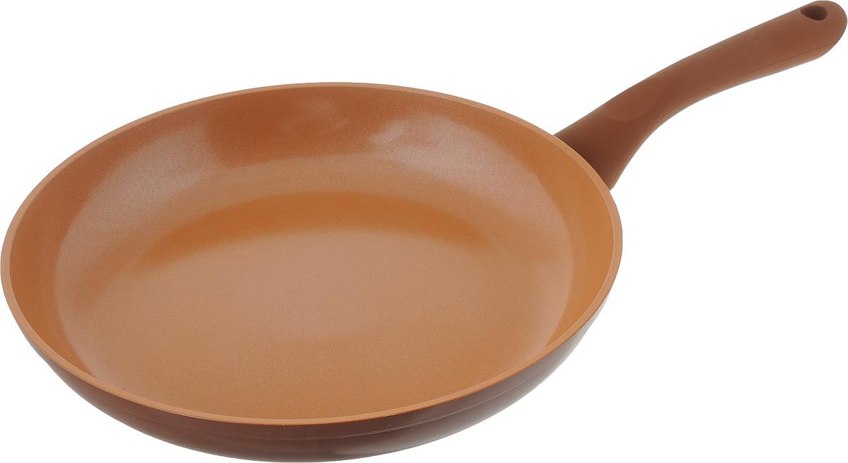 """Сковорода NaturePan """"Ceramic"""" выполнена из алюминия и имеет современное керамическое покрытие Greblon Ceramic. Благодаря такому  покрытию, внутренняя и  внешняя поверхность сковороды хорошо моется, устойчива к царапинам.  Усиленное кованое дно служит для равномерного распределения тепла и лучшего  приготовления пищи.  Эргономичная пластиковая ручка, не скользит в руке и приятна на ощупь.   Яркие цвета внутреннего и внешнего покрытия подчеркивают изысканность  блюда при приготовлении и создают атмосферу комфорта и уюта на любой кухне.  Диаметр: 20 см."""