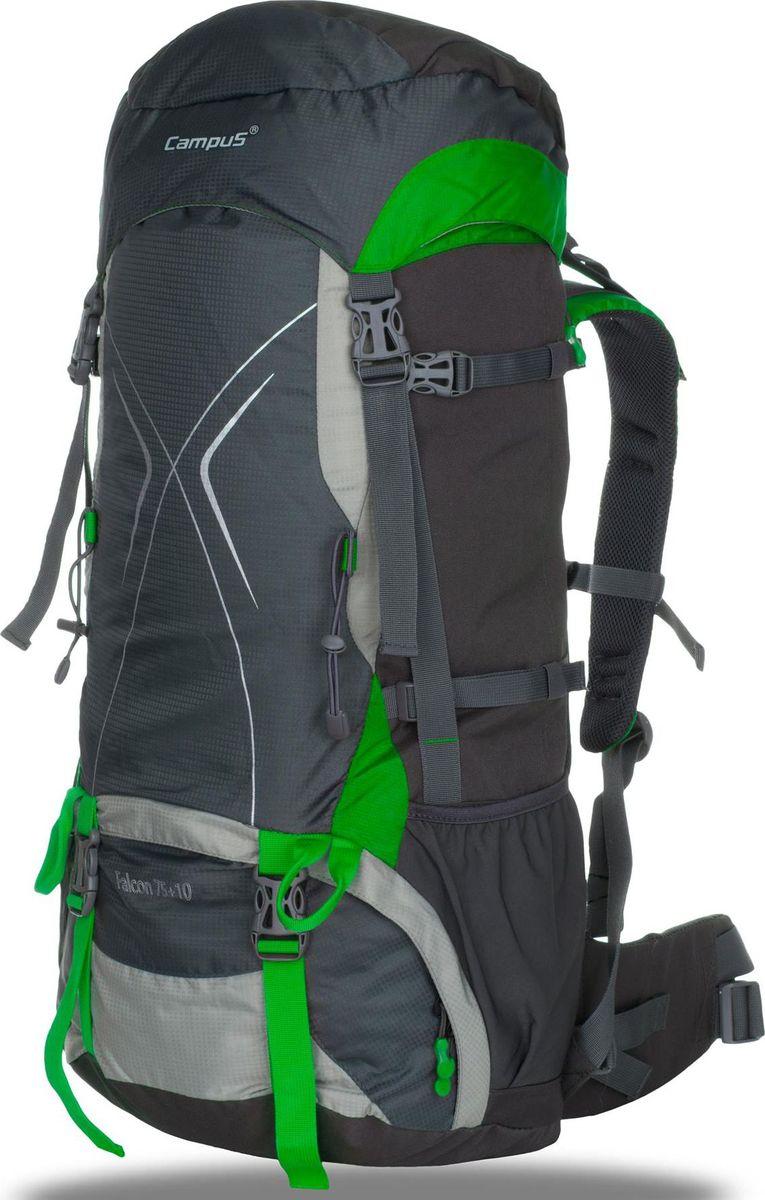 Рюкзак Campus Falcon, цвет: графитовый, зеленый, 65 + 10 л5038025128527Рюкзак туристический - для долгих путешествий и горных походов- объем 65+10 л- два отделения- легкий доступ в нижний отсек рюкзака (на молнии)- отводы для крепления навесного оборудования,- 2 внешние карманы (сетка)- 2 боковых кармана на молнии- чехол от дождя, размещенный в специальном кармане (чехол в контрастномцвете с светоотражательными элементами)- поясной ремень- нагрудный ремень- светоотражающие элементы- система регулировки спины - возможность подгонки рюкзака по фигуре/роступользователяматериал устойчив к нагрузкам Endura (Нейлон 420D PU Ripstop/ 600D ПолиэстерPU)