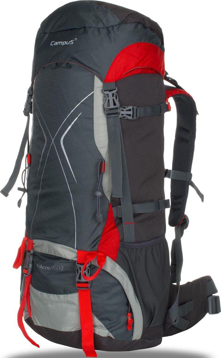 Рюкзак Campus Falcon, цвет: графитовый, красный, 75 + 10 л5038025128534Рюкзак Campus Falcon - для долгих путешествий и горных походов- объем 75 + 10 л- два отделения- легкий доступ в нижний отсек рюкзака (на молнии)- отводы для крепления навесного оборудования- 2 внешних кармана (сетка)- 2 боковых кармана на молнии- чехол от дождя, размещенный в специальном кармане (чехол в контрастномцвете со светоотражающими элементами- поясной ремень- нагрудный ремень- светоотражающие элементы- система регулировки спины - возможность подгонки рюкзака по фигуре / роступользователя Что взять с собой в поход?. Статья OZON Гид