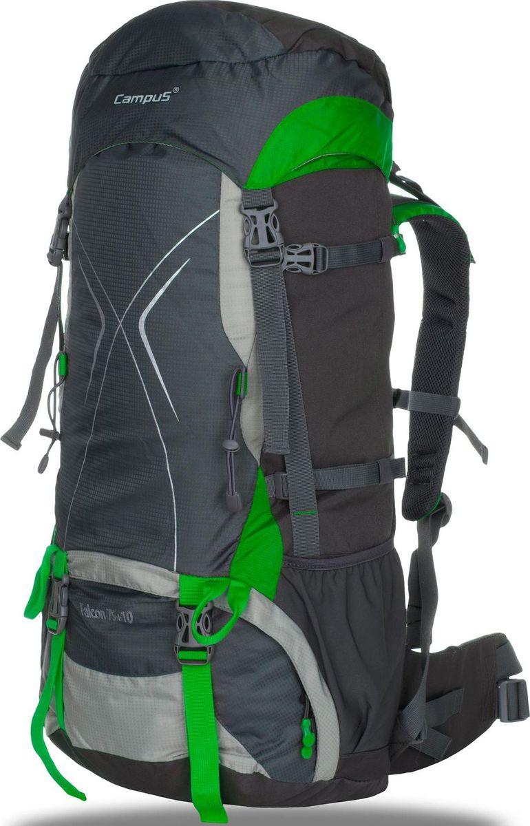 Рюкзак Campus Falcon, цвет: графитовый, зеленый, 75 + 10 л5038025128541Рюкзак Campus Falcon - для долгих путешествий и горных походов- объем 75 + 10 л- два отделения- легкий доступ в нижний отсек рюкзака (на молнии)- отводы для крепления навесного оборудования- 2 внешних кармана (сетка)- 2 боковых кармана на молнии- чехол от дождя, размещенный в специальном кармане (чехол в контрастномцвете со светоотражающими элементами- поясной ремень- нагрудный ремень- светоотражающие элементы- система регулировки спины - возможность подгонки рюкзака по фигуре/роступользователя Что взять с собой в поход?. Статья OZON Гид