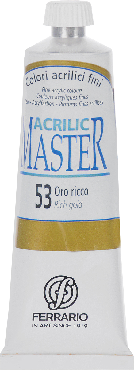 Ferrario Краска акриловая Acrilic Master цвет №53 богатое золото BM09760CO53BM09760CO53Акриловые краски серии ACRILIC MASTER итальянской компании Ferrario. Универсальны в применении, так как хорошо ложатся на любую обезжиренную поверхность: бумага, холст, картон, дерево, керамика, пластик. При изготовлении красок используются высококачественные пигменты мелкого помола. Краска быстро сохнет, обладает отличной укрывистостью и насыщенностью цвета. Работы, сделанные с помощью ACRILIC MASTER, не тускнеют и не выгорают на солнце. Все цвета отлично смешиваются между собой и при необходимости разбавляются водой. Для достижения необходимых эффектов применяют различные медиумы для акриловой живописи. В серии представлено 50 цветов.
