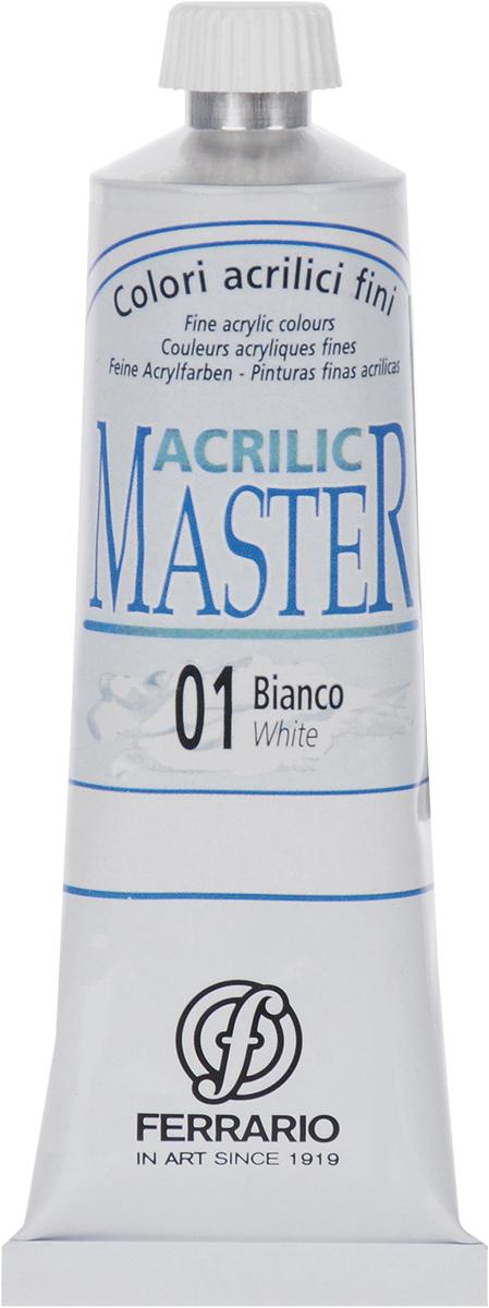 Ferrario Краска акриловая Acrilic Master цвет №01 белый BM09760CO01BM09760CO01Акриловые краски серии Acrilic Master итальянской компании Ferrario. Универсальны в применении, так как хорошо ложатся на любую обезжиренную поверхность: бумага, холст, картон, дерево, керамика, пластик. При изготовлении красок используются высококачественные пигменты мелкого помола. Краска быстро сохнет, обладает отличной укрывистостью и насыщенностью цвета. Работы, сделанные с помощью Acrilic Master, не тускнеют и не выгорают на солнце. Все цвета отлично смешиваются между собой и при необходимости разбавляются водой. Для достижения необходимых эффектов применяют различные медиумы для акриловой живописи.