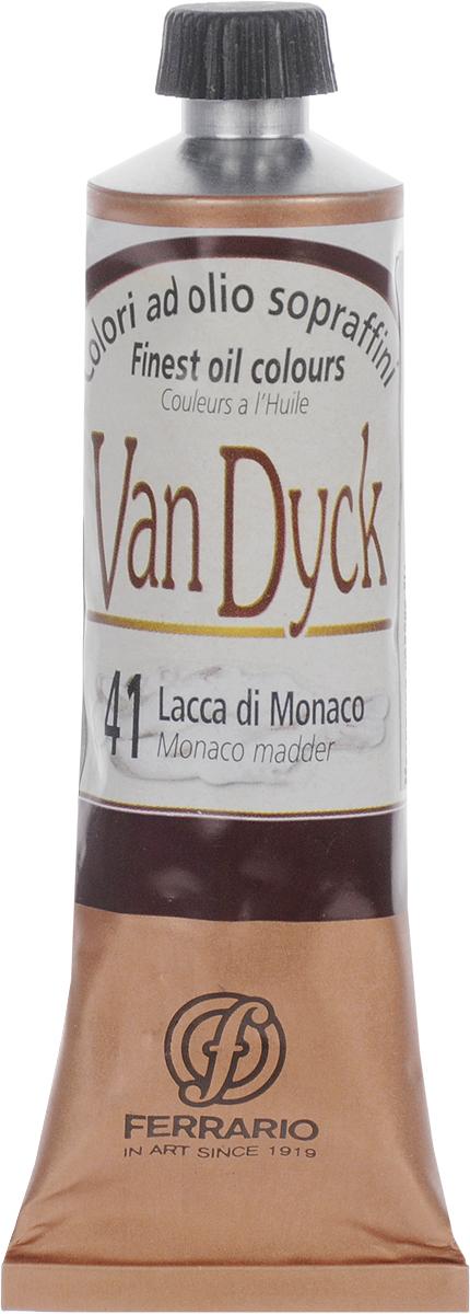 Ferrario Краска масляная Van Dyck цвет №41 монако лакAV0017CO41Масляные краски серии Van Dyck итальянской компании Ferrario изготавливаются из натуральных мелко тертых пигментов с добавлением качественного связующего материала. Благодаря этому масляные краски Van Dyck обладают превосходной светостойкостью, чистотой цветов и оттенков. Краски можно разбавлять льняным маслом, терпентином или нефтяными разбавителями. Все цвета хорошо смешиваются между собой.В серии масляных красок Van Dyck представлено 87 различных оттенков, а также 6 металлических оттенков.