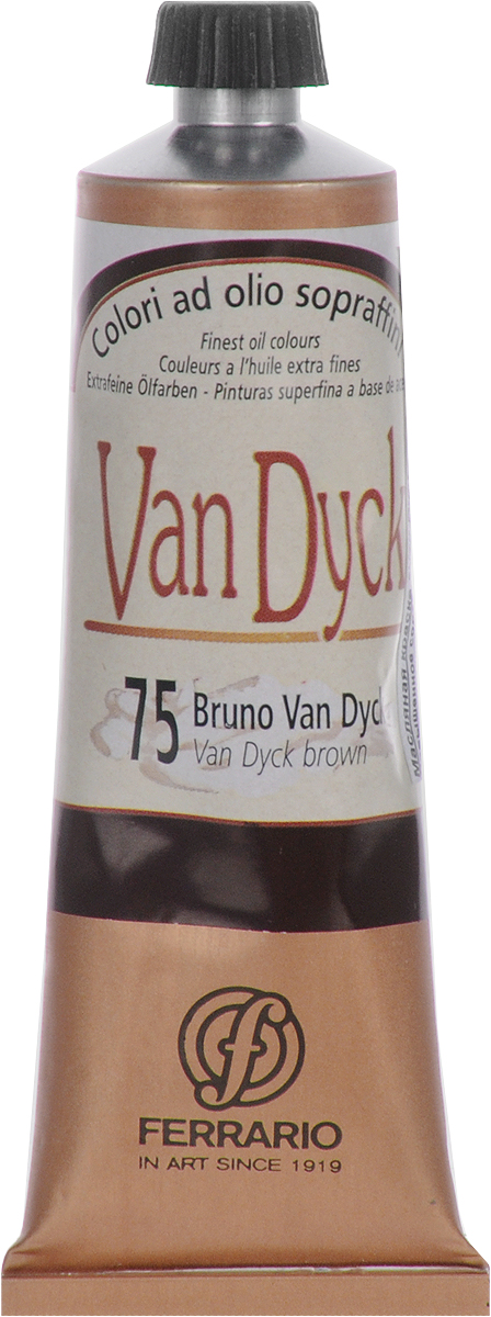 Ferrario Краска масляная Van Dyck цвет №75 ван дик коричневыйAV0017CO75Масляные краски серии Van Dyck итальянской компании Ferrario изготавливаются из натуральных мелко тертых пигментов с добавлением качественного связующего материала. Благодаря этому масляные краски Van Dyck обладают превосходной светостойкостью, чистотой цветов и оттенков. Краски можно разбавлять льняным маслом, терпентином или нефтяными разбавителями. Все цвета хорошо смешиваются между собой.В серии масляных красок Van Dyck представлено 87 различных оттенков, а также 6 металлических оттенков.
