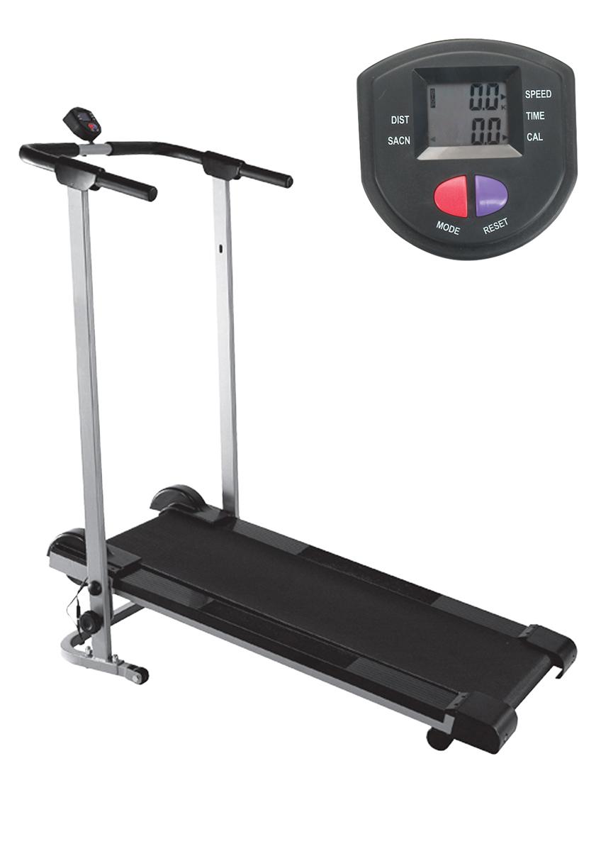 Беговая дорожка Sport Elit TM1556-01TM1556-01Беговая дорожка TM 1556 -01 – прекрасный тренажер, который позволит вам поддерживать отличную физическую форму. Занимаясь ежедневно , вы сможете не только избавиться от лишнего веса, но и улучшить свою физическую форму. Бег благотворно влияет на общий тонус мышц, тренирует дыхательную систему, улучшает работу сердца. Кроме того, активная физическая нагрузка, которую дает беговая дорожка, отлично сказывается на тонусе многих групп мышц, эффективно «сжигает» жир и позволяет быстро привести свою фигуру в порядок. Беговая дорожка TM 1556- 01 станет настоящим «скульптором» вашего тела. Беговая поверхность: 32х103 см. Датчики измерения пульса на раме. Компьютер оснащен ЖК-дисплеем, отображает функции: время, скорость, потраченные калории, дистанция, пульс, скан. Ременная система изменения нагрузки.Использование ДомашнееТип беговой дорожки МеханическаяТип нагрузки Нет Габариты бегового полотна (см) 32х103 смМакс. вес пользователя 100 кгСкорость движения без ограниченияИзменение угла наклона полотна НетРегулировка угла наклона НетСкладывание естьПостоянная мощность двигателя (л.с.) нетПиковая мощность двигателя (л.с.) нетМонитор и программные характеристики Компьютер: ЖК дисплейПоказания компьютера: время, скорость, дистанция, калории, пульс, сканСистема измерения пульса: Сенсорные датчики пульса расположены на рукоятках тренажераКоличество программ тренировки: нетСпецификации программ: нетСпециальные программные возможности: нетДополнительные характеристики Транспортировочные ролики ДаРама СтальнаяПодставка для аксессуаров нетПитание АААГабариты и вес тренажера Вес тренажера: 18 кгВес в упаковке: 20 кгВес маховика нетГабариты в сложенном виде: 107x61x122 см Габариты в собранном виде: 75x61x122 см Габариты в упаковке: 114 x57x21смГарантийный срок 18 месяцев