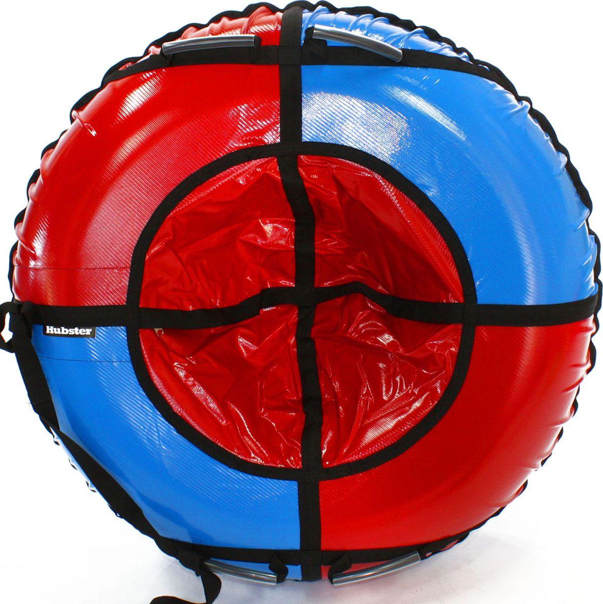 Тюбинг Hubster Sport Plus, цвет: красный, синий, диаметр 120 смво4188-2Любимая детская зимняя забава - это кататься с горки. А катание на тюбинге надолго запомнится вам и вашим близким. Свежий воздух, веселая компания, веселые развлечения - эти моменты вы будете вспоминать еще долгое время. Материал верха - ПВХ армированный, плотность 650 г/м .Материал дна - ПВХ (усиленная скользкая ткань), плотность 650 г/м.Диаметр в сдутом виде -120 см.Диаметр в надутом виде - 109 см.Ручки усиленные (нашиты на дополнительную стропу)Кол-во ручек - 4 шт. Молния скрытая, на сиденье.Крепление троса - наружная петля.Длина троса - 1 метр.Нагрузка -до 150 кг.Комплект поставки - ватрушка, трос, камера.Тюбинг не предназначен для буксировки механическими или транспортными средствами (подъемники, канатные дороги, лебедки, автомобиль, снегоход, квадроцикл и т.д.)