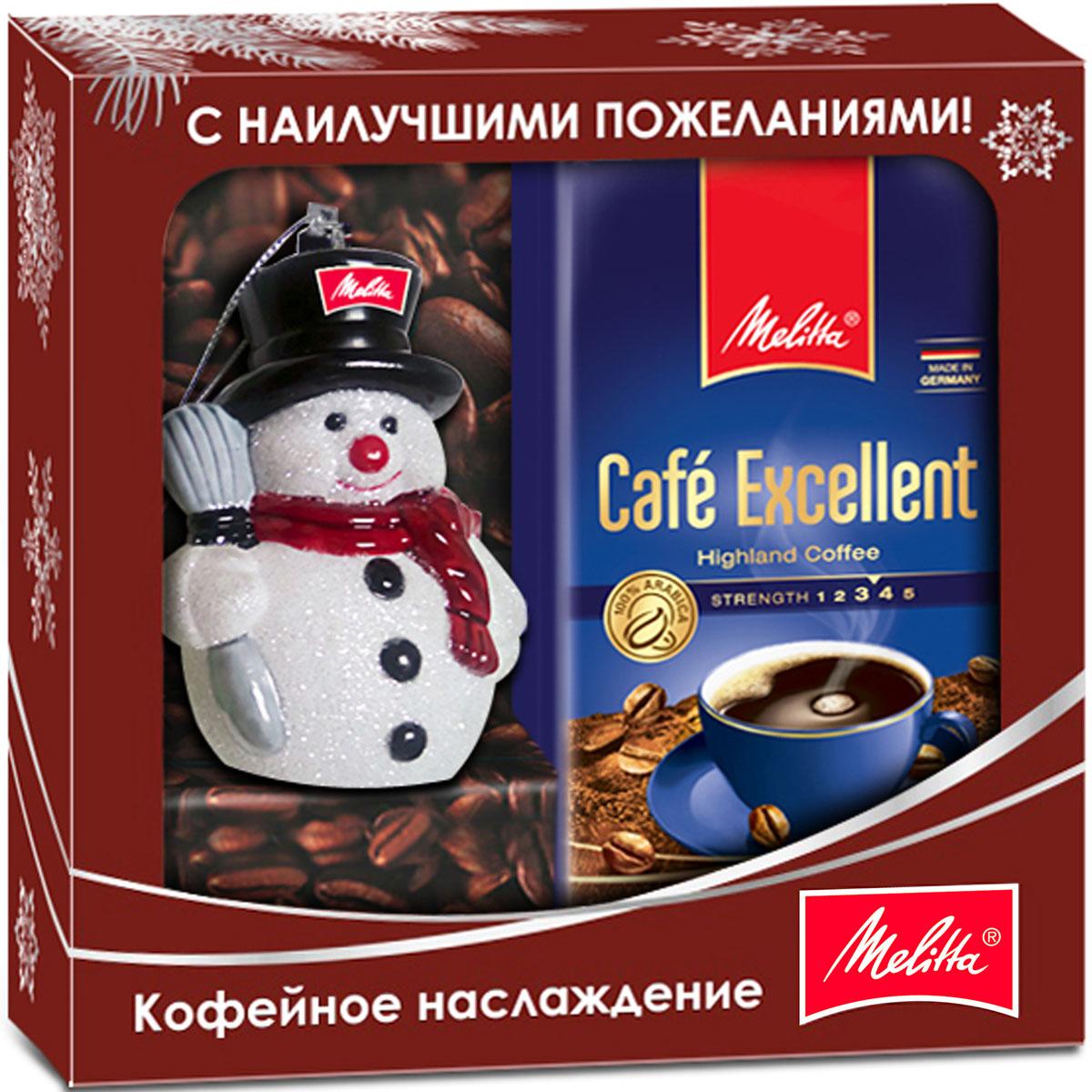 Melitta кофе Excellent, молотый, новогодняя игрушка в подарок, 250 г4650058461818Подарочный набор Melitta: Кофе молотый BellaCrema Excellent с новогодним украшением Снеговик в подарок.Melitta - один из крупнейших производителей натурального кофе в мире и один из ведущих брендов в Германии. Уже более ста лет Melitta является экспертом в области кофе. Тщательный отбор кофейных зерен, щадящая обжарка и мастерское купажирование рождают несравненный вкус, который доставит вам истинное наслаждение, подарит бодрость и энергию.Способ приготовления кофе: 2 чайные ложки (6-8г) на чашку (120 мл).Для приготовления в капельных кофеварках, турке или прямо в чашке, заварив горячей водой.Кофе: мифы и факты. Статья OZON Гид