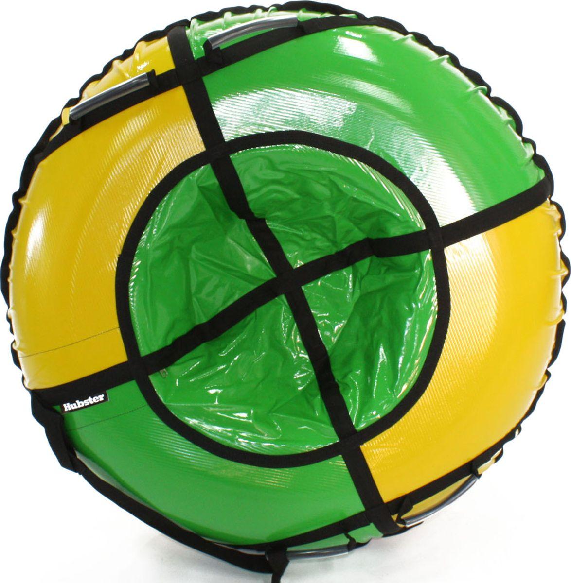 Тюбинг Hubster Sport Plus, цвет: желтый, зеленый, диаметр 120 смво4190-2Любимая детская зимняя забава - это кататься с горки. А катание на тюбинге надолго запомнится вам и вашим близким. Свежий воздух, веселая компания, веселые развлечения - эти моменты вы будете вспоминать еще долгое время. Материал верха - ПВХ армированный, плотность 650 г/м .Материал дна - ПВХ (усиленная скользкая ткань), плотность 650 г/м.Диаметр в сдутом виде - 120 см.Диаметр в надутом виде - 109 см.Ручки усиленные (нашиты на дополнительную стропу)Кол-во ручек - 4 шт. .Молния скрытая, на сиденье.Крепление троса - наружная петля.Длина троса - 1 метр.Нагрузка -до 150 кг.Комплект поставки - ватрушка, трос, камера.Тюбинг не предназначен для буксировки механическими или транспортными средствами (подъемники, канатные дороги, лебедки, автомобиль, снегоход, квадроцикл и т.д.)