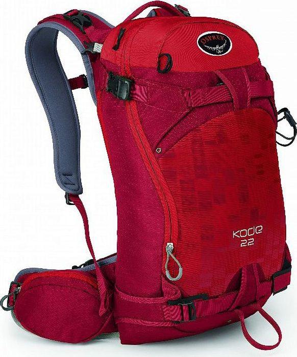 Рюкзак Osprey Kode 22, цвет: красный, 22 л. Размер S/M00000020233Kode 22, созданный специально для райдеров, воплотил в себе все достоинства рюкзаков для фрирайда. Вещи можно разместить в двух легкодоступных основных отделениях: одно – для мокрого снаряжения, например, лопаты, щупа и лыжных камусов; другое – для запасной одежды и теплого головного убора. Внутренний термоизоляционный карман для питьевой трубки на лямке рюкзака предотвращает замерзание жидкости. В двух боковых карманах на молнии на поясном ремне удобно разместить мелкие вещи, которые должны быть всегда под рукой. Специальный защитный карман с подкладкой из микрофлиса для маски. Занятие экстремальными зимними видами спорта подразумевает множество вертикальных подъемов. Именно поэтому в Kode 22 предусмотрены разные типы крепления лыж: в форме А и по диагонали. А с помощью специальной компрессионной системы можно вертикально закрепить сноуборд или снегоступы на задней панели. Быстро убирающееся надежное крепление для шлема вы сможете по достоинству оценить во время долгих туров.Особенности: Максимальный размер: (см) 55 (длина) x 29 (ширина) x 29 (глубина) Вес: 1.31 (M/L) кг Компрессионная прессованная задняя панель с покрытием, способствующим соскальзыванию снега Грудная стяжка с сигнальным свистком Фронтальная загрузка рюкзака на молнии Крепления для лыж по бокам и по диагонали на передней панели рюкзака Внутренний термоизоляционный карман для питьевой трубки на лямке рюкзака Специальное быстродоступное отделение для лавинного снаряжения с карманами для ручки лавинной лопаты и щупа Встроенный фиксатор для шлема в верхнем клапане рюкзака Износоустойчивое PU покрытие на передней панели Доступ к основному отделению со спины рюкзака Пряжки, удобные для работы в перчатках Внутренний отсек для питьевой системы Внутреннее отделение для мокрых / сухих вещей Специальный защитный карман из микрофлиса для маски Боковая стяжка Петля для крепления ледоруба Вертикальное и горизонтальное крепление сноуборда на задней 