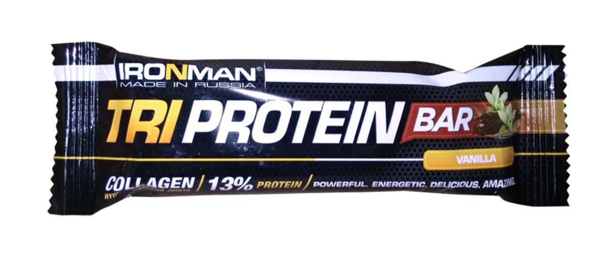 Батончик Ironman Tri Protein Bar, ваниль, темная глазурь, 50 г4650069823001Батончик Ironman Tri Protein Bar - батончик на основе комплекса трех протеинов с добавлением полезных пищевых волокон. БатончикTri Protein Barсо вкусом ванили – это полезный и питательный батончик, в котором 14% пустых углеводов замещено комплексным белком, которого так не хватает современному человеку. Кроме того в батончик добавлено 6% пищевых волокон, незаменимых для нормального пищеварения. Обогащен десятью основными витаминами. Глюкозный сироп, глазурь кондитерская (лауриновый заменитель какао-масла, сахар, какао-порошок, эмульгатор лецитин, ароматизатор), сахар, мальтодекстрин, кокосовая стружка, изолят соевого белка, какао-порошок,вода питьевая, концентрат молочного белка, изолят горохового белка, концентрат сывороточного белка, агент влагоудерживающий глицерин, пшеничные волокна.Как повысить эффективность тренировок с помощью спортивного питания? Статья OZON Гид
