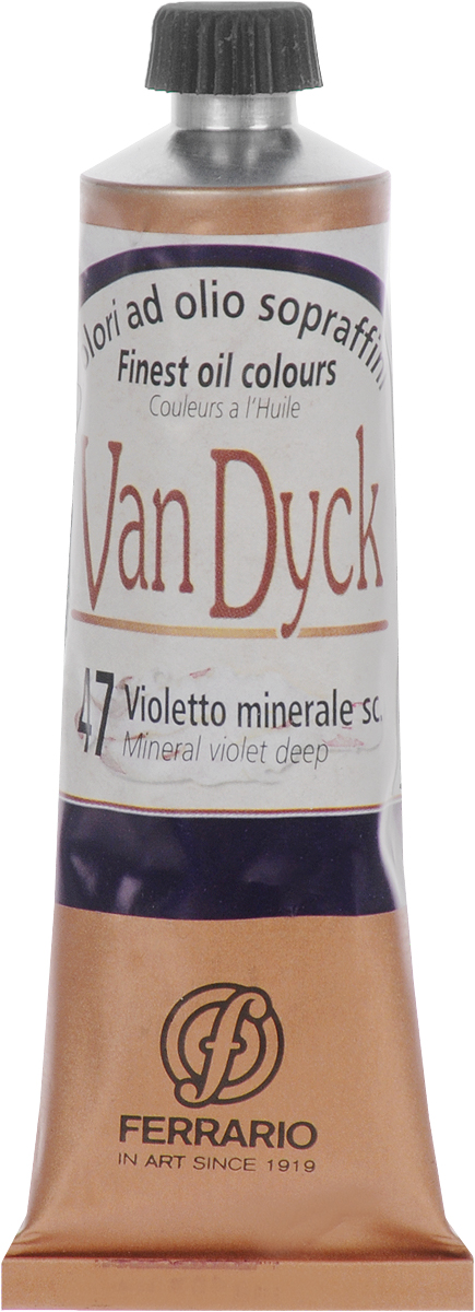 Ferrario Краска масляная Van Dyck цвет №47 минеральный фиолетовый темныйAV0017CO47Масляные краски серии Van Dyck итальянской компании Ferrario изготавливаются из натуральных мелко тертых пигментов с добавлением качественного связующего материала. Благодаря этому масляные краски Van Dyck обладают превосходной светостойкостью, чистотой цветов и оттенков. Краски можно разбавлять льняным маслом, терпентином или нефтяными разбавителями. Все цвета хорошо смешиваются между собой.В серии масляных красок Van Dyck представлено 87 различных оттенков, а также 6 металлических оттенков.