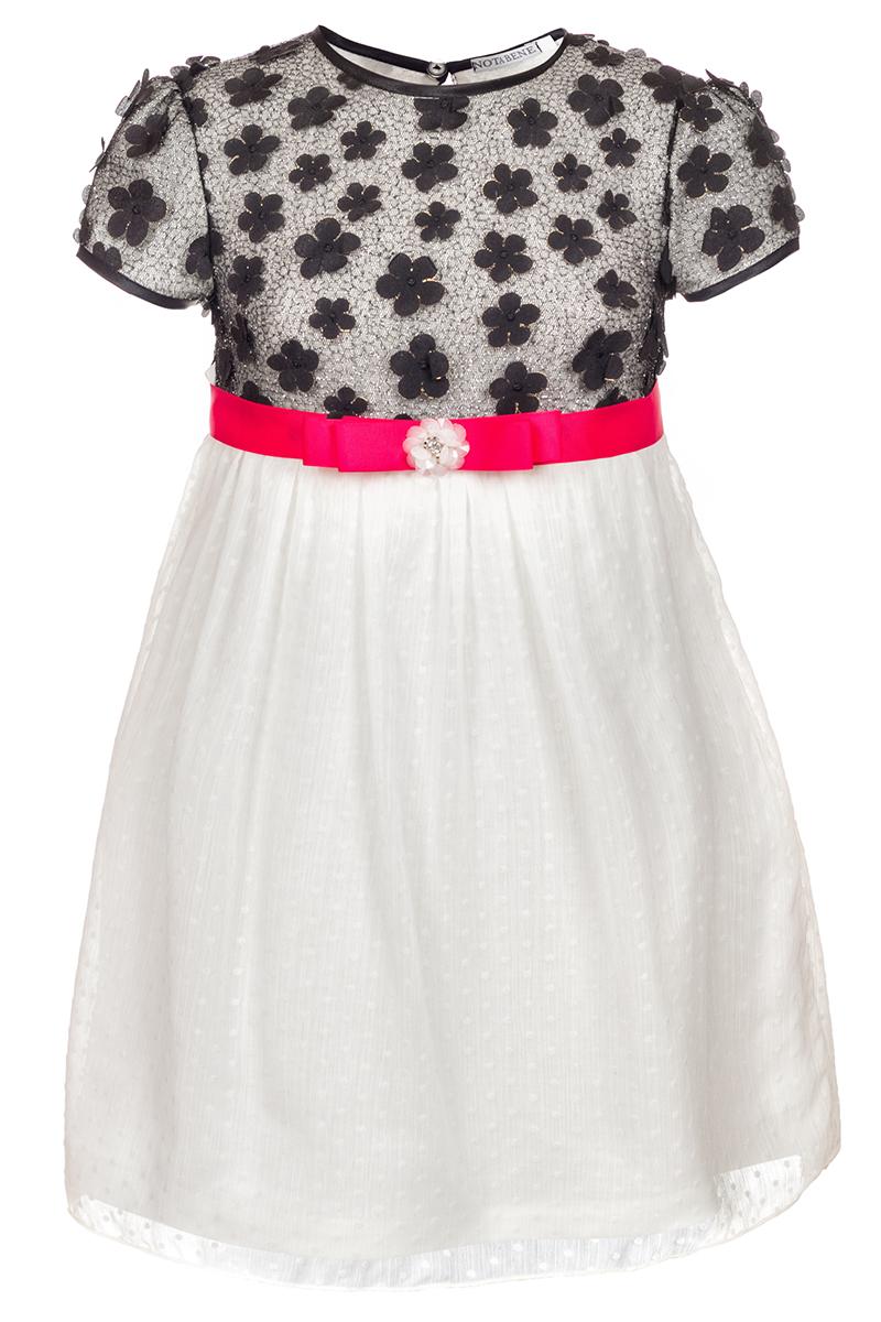 Платье для девочки Nota Bene, цвет: белый, черный. 17421020122. Размер 128 платье tutto bene tutto bene tu009ewzwn18
