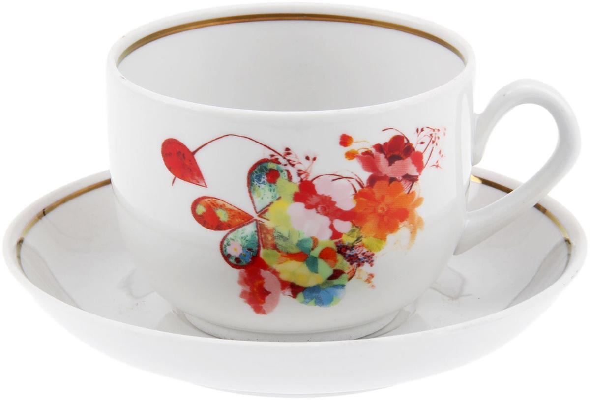 Чайная пара Фарфор Вербилок Капля полдня, 2 предмета. 12595931528Столовый фарфор будто создан для комфортного чаепития в приятной компании или наедине с собственными мыслями. Набор чайный 2 предмета: чашка, блюдце отличается обаятельным дизайном: изделия комплекта украшены ярким цветочным принтом, дарующим жизнерадостное настроение даже в пасмурный день. Изящные модели из аристократической керамики требует деликатного ухода. Мыть чашку необходимо с особой аккуратностью, придерживая изделие не только за ручку, но и за дно.