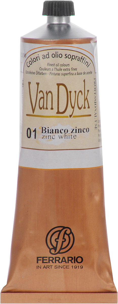 Ferrario Краска масляная Van Dyck цвет № 01 белила цинкAV00210001Масляные краски серии Van Dyck итальянской компании Ferrario изготавливаются из натуральных мелко тертых пигментов с добавлением качественного связующего материала. Благодаря этому масляные краски Van Dyck обладают превосходной светостойкостью, чистотой цветов и оттенков. Краски можно разбавлять льняным маслом, терпентином или нефтяными разбавителями. Все цвета хорошо смешиваются между собой.В серии масляных красок Van Dyck представлено 87 различных оттенков, а также 6 металлических оттенков.