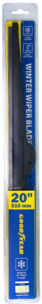 Щетка стеклоочистителя Goodyear Winter, зимняя, 20 (510 мм), 4 переходникаGY004020Зимняя щетка стеклоочистителя Goodyear Winter, 20/51 см. Материал: каучуковая резина с графитовым покрытием. Конструкция щетки и состав резинового лезвия обеспечивают идеальную очистку. Особенности: 4 адаптера в комплекте: HOOK, Push Button, Side Pin, Bayonet, защита от снега и льда, резиновое лезвие класса Triple A, антивандальная упаковка, защита от подделки.